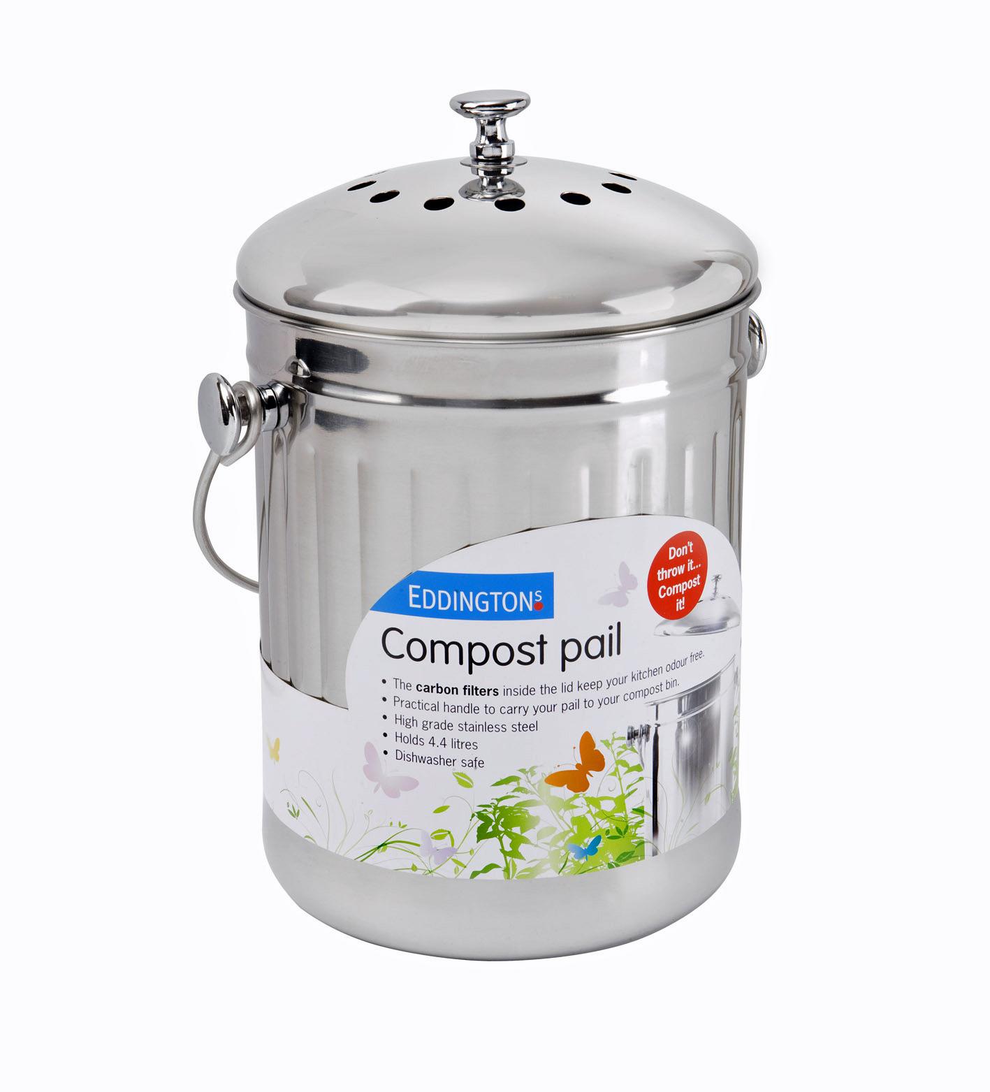 Eddingtons Stainless Steel Deluxe Compost Pail Bin Bucket