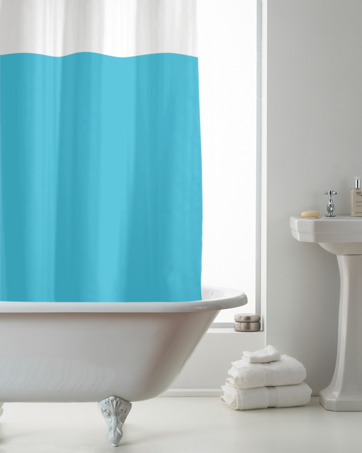 Details About Country Club Peva Shower Curtain Blue And Clear Bathroom Accessories Decoration