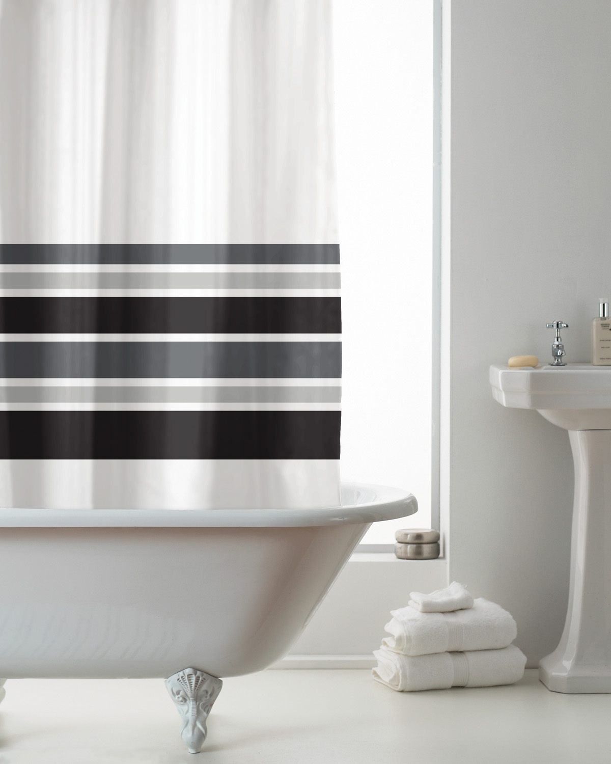 Details About Country Club Hookless Shower Curtain Black Stripe Bathroom Accessories Decor