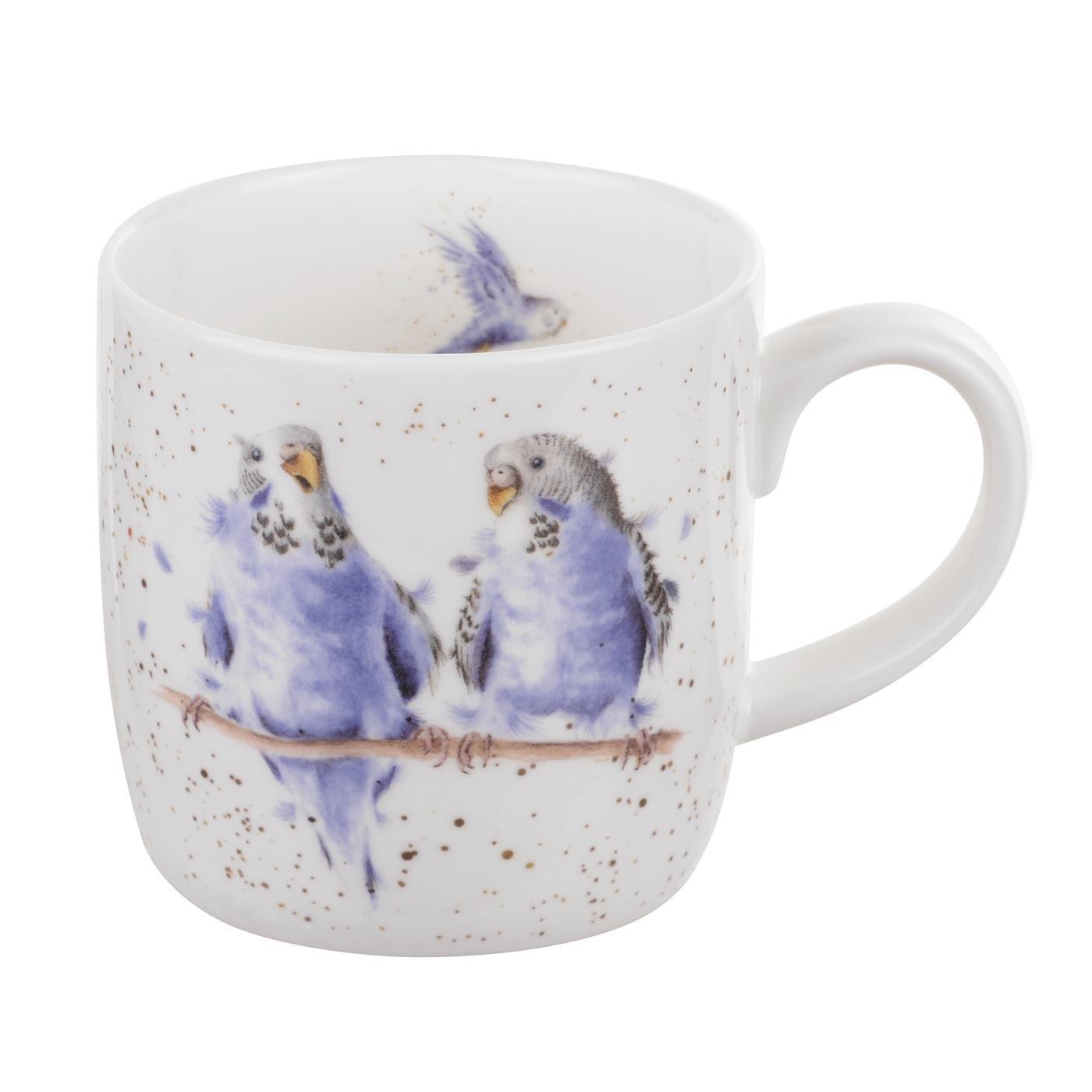 Royal Worcester Wrendale Date Night Budgies Birds Small Single Mug Bone China