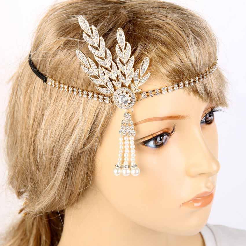 Gold Pearl Crystal Headpiece Tiara Hair Peaky Blinders Leaf Flapper Great Gatsby
