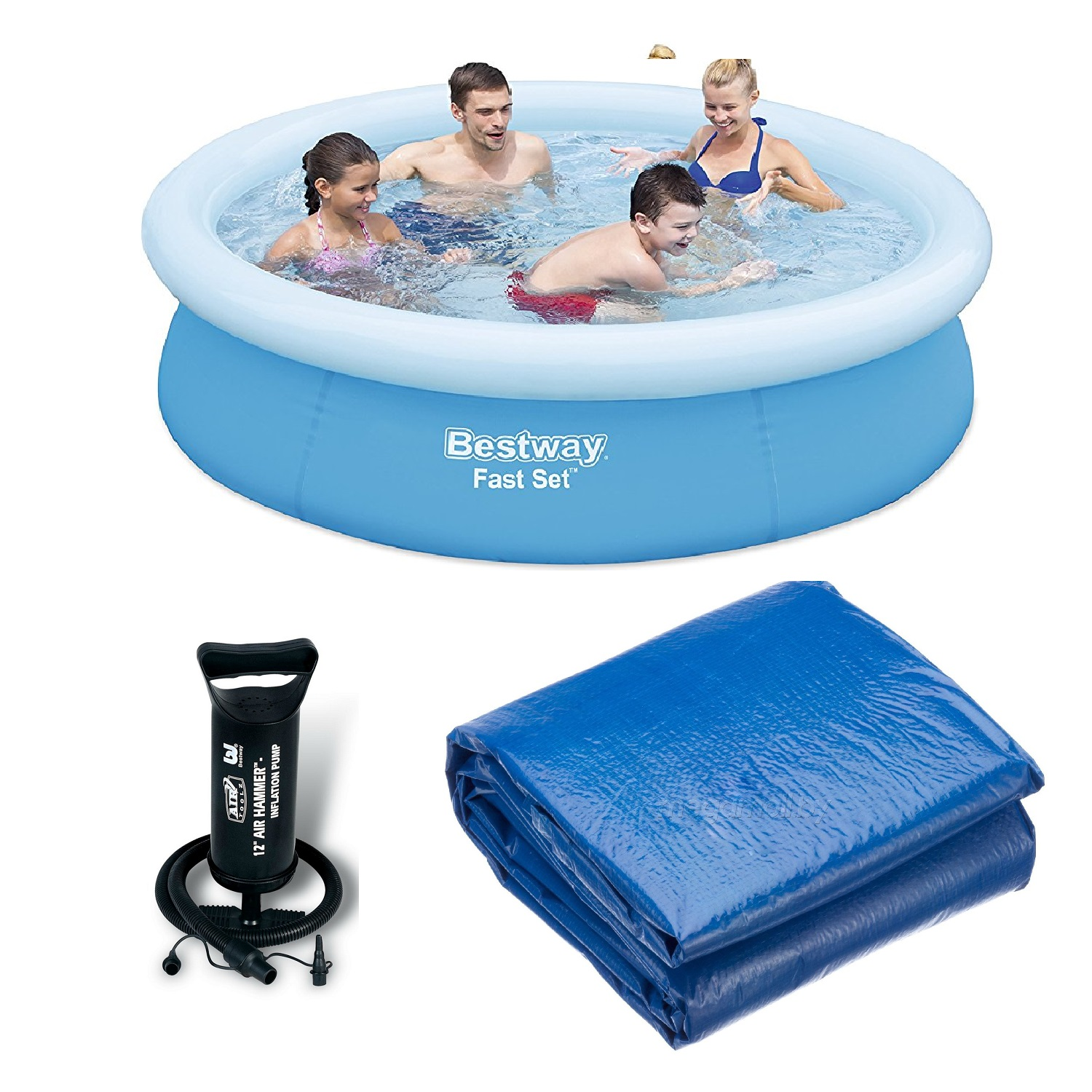BESTWAY 8 FT Fast Set Pool Con Pompa A Mano & detriti Copertura Bundle