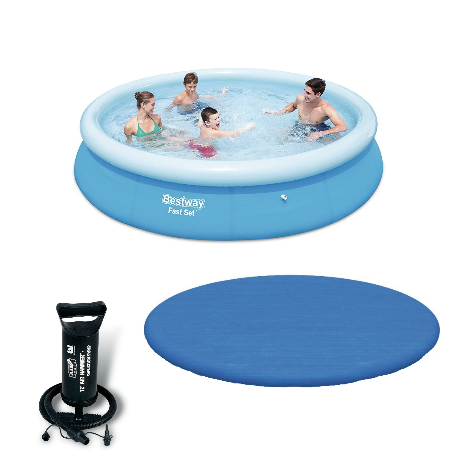 Bestway  12 Ft Fast Set Pool With Hand Pump & Debris Cover Bundle