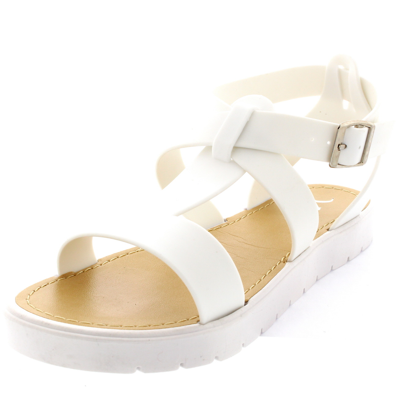 fd797f5879cb Womens Open Toe Shoes Cleated Sole White Platform T-Bar Jelly ...