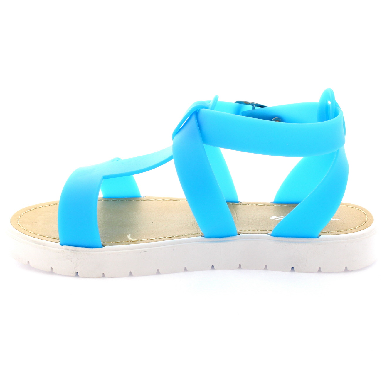 3ac2895b6a3b Womens Open Toe Shoes Cleated Sole White Platform T-Bar Jelly ...