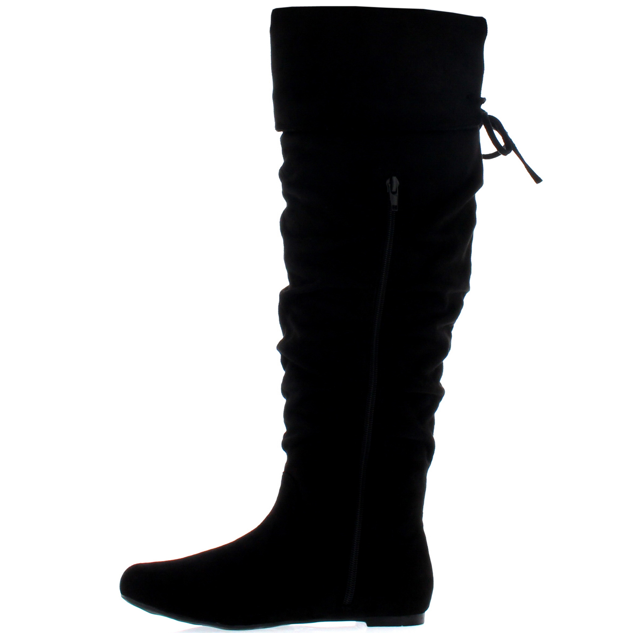 Women's Winter Flat Heel Leather Casual Riding Long Boots
