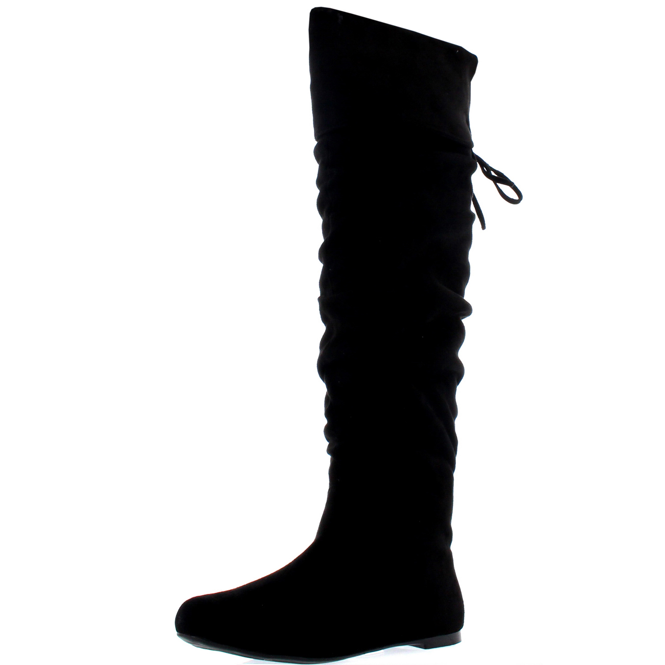 Womens Flat Thigh Winter Biker Shoes Casual Over The Knee Riding Boots