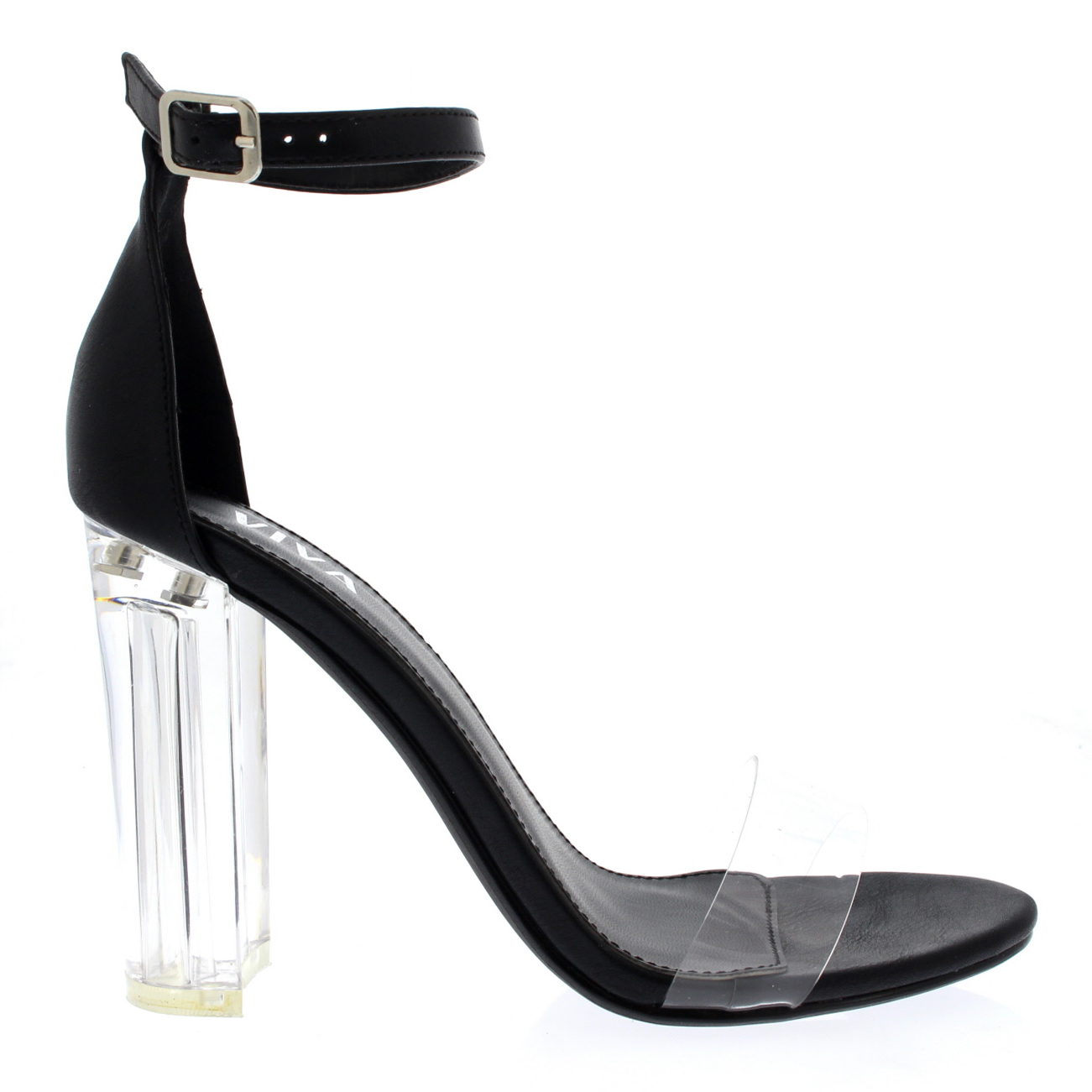 e665f42a6cf Details about Womens Party Evening Ankle Strap Shoes High Heel Chic Glass  Heel Sandals US 5-10