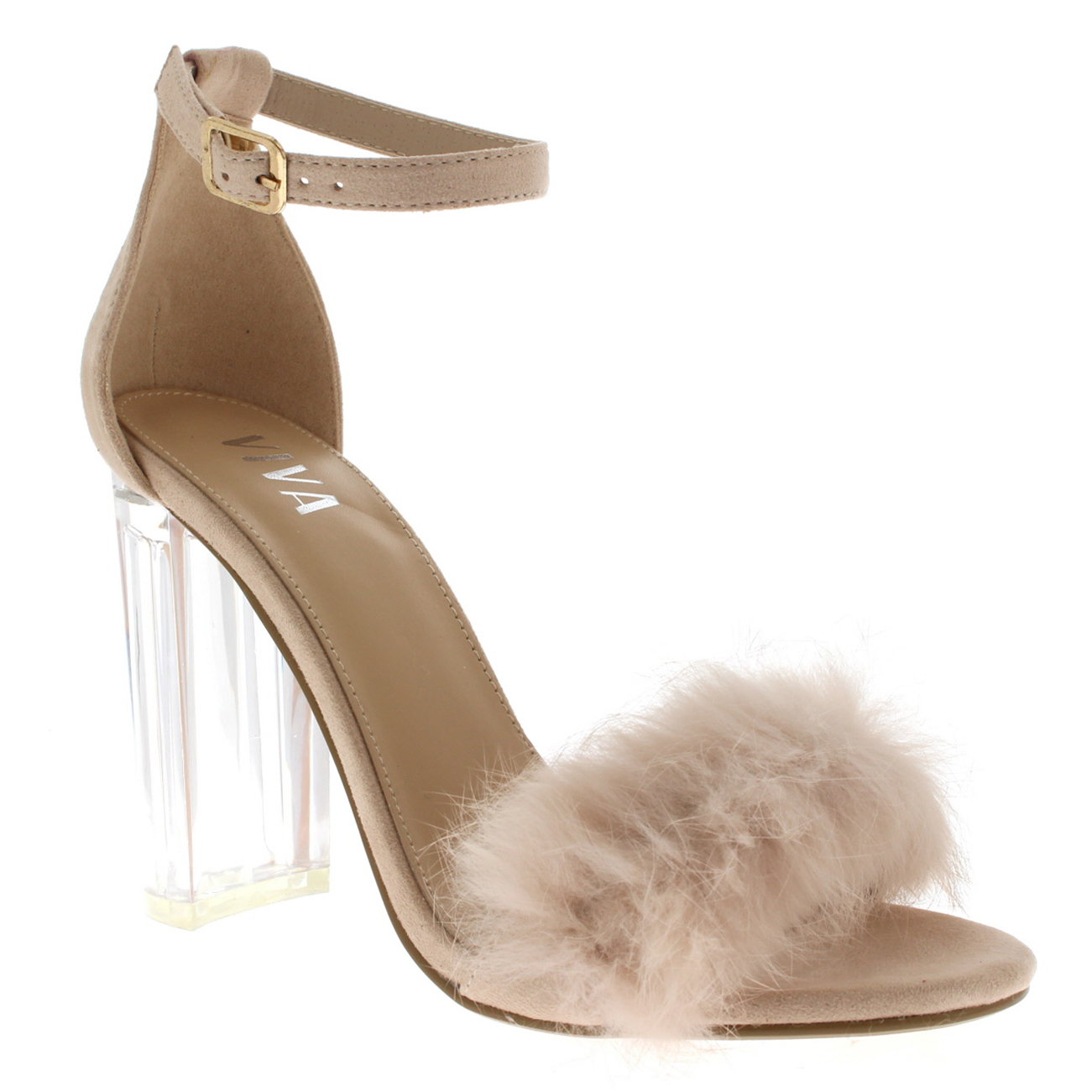 a9f71706174 Details about Womens Cut Out Fluffy Party Fashion Block Heel Pumps Glass  High Heels US 5-10