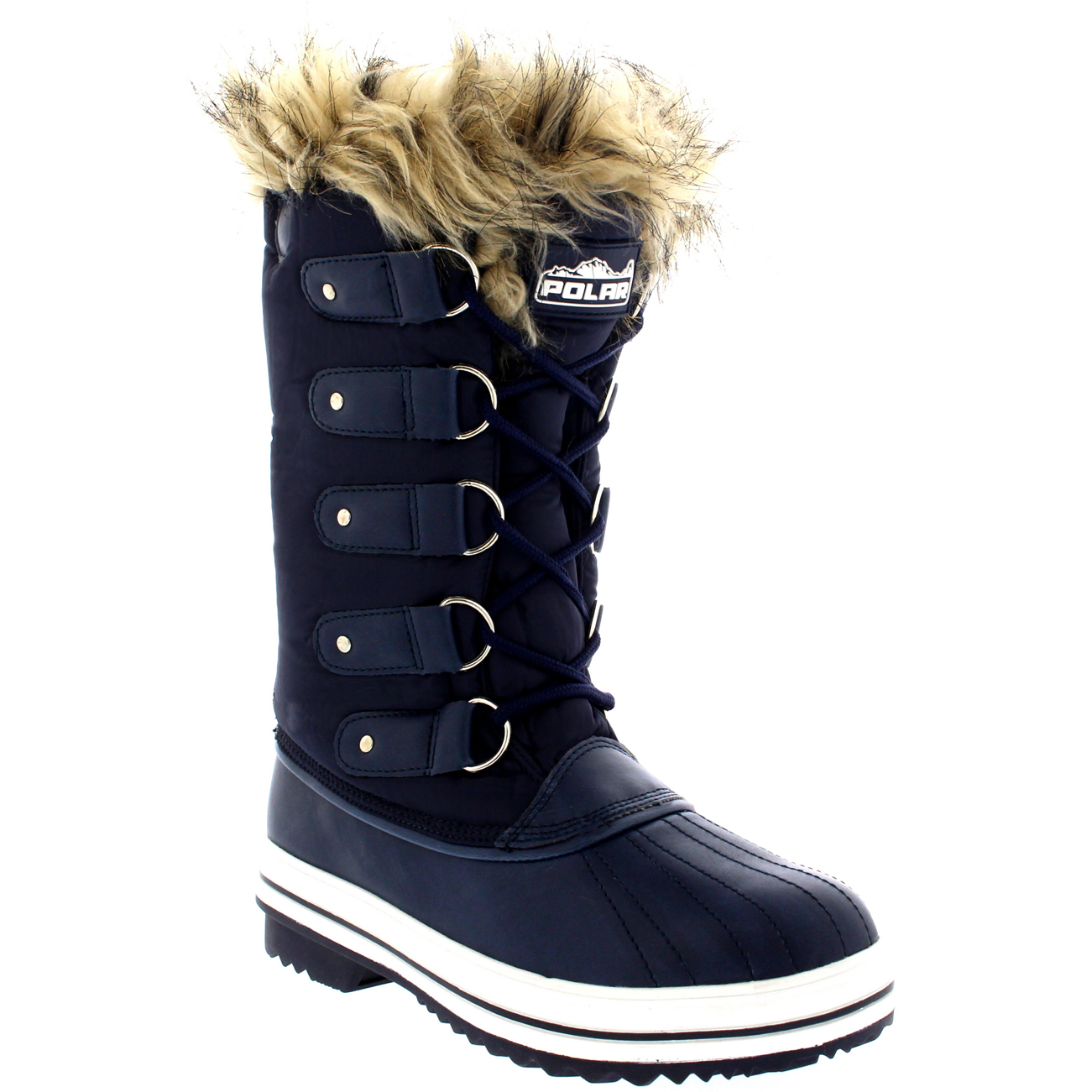 Womens Fur Cuff Lace Up Rubber Sole Tall Winter Snow Rain