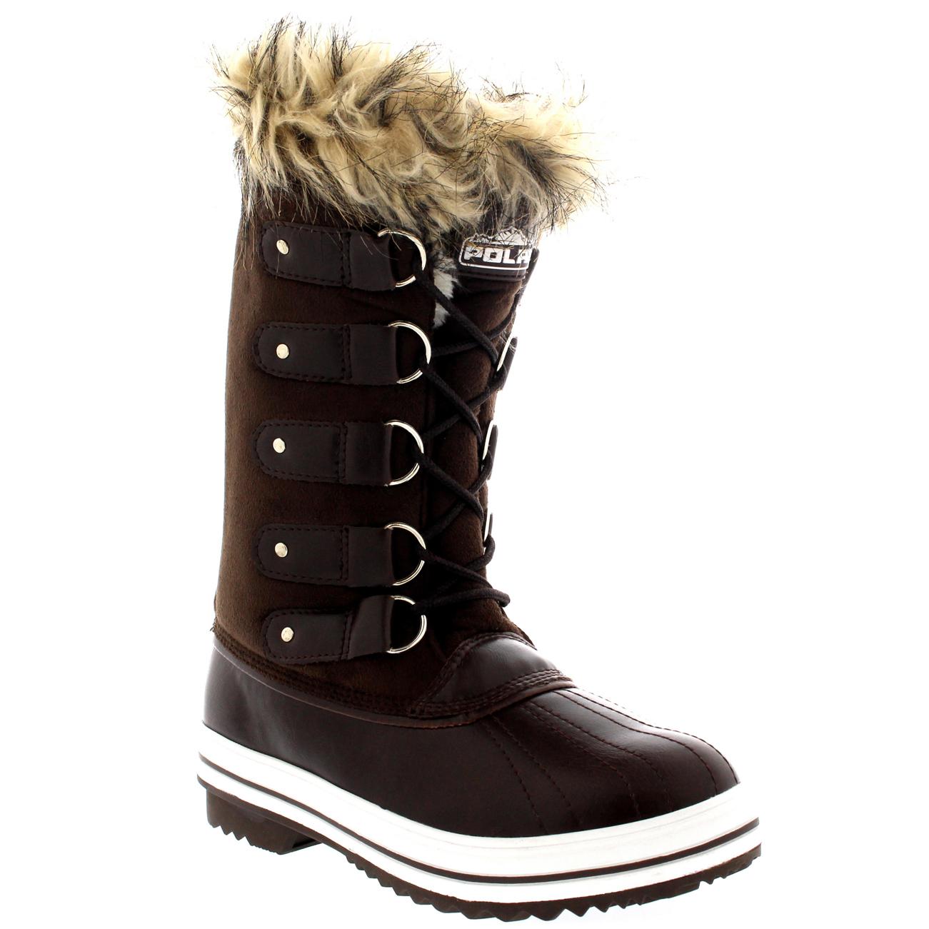 Womens Fur Cuff Lace Up Rubber Sole Tall Winter Snow Rain