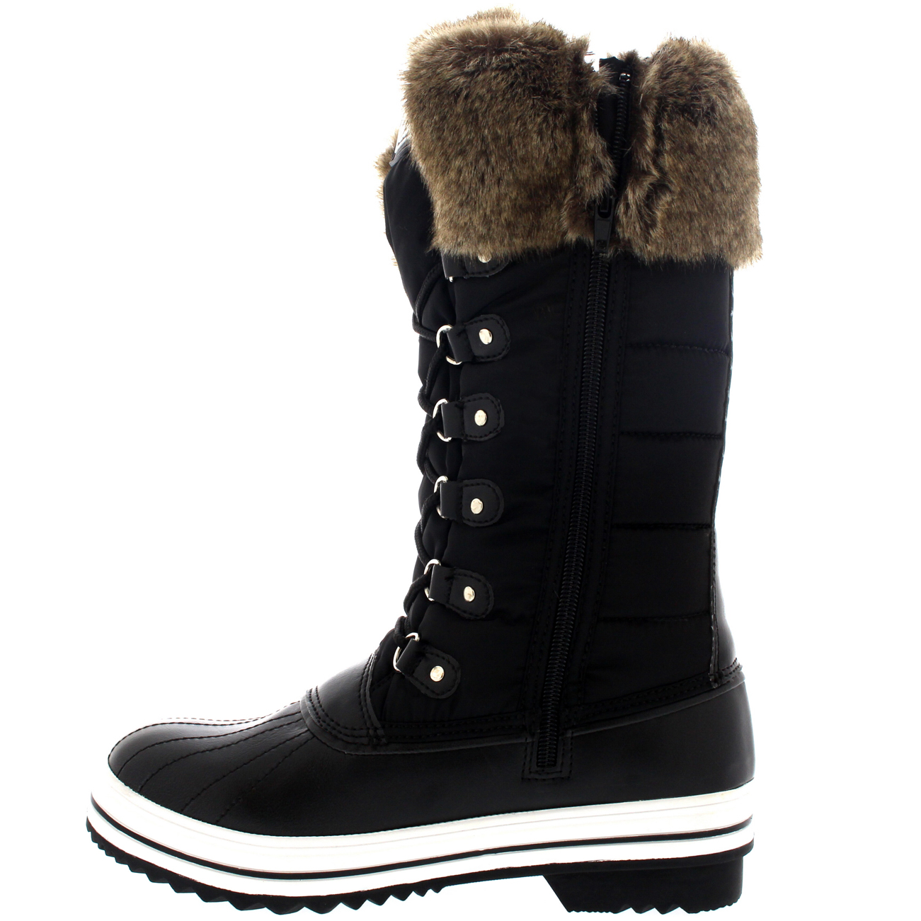 Womens Nylon Warm Side Zip Duck Muck Lace Up Rain Winter Snow Boots