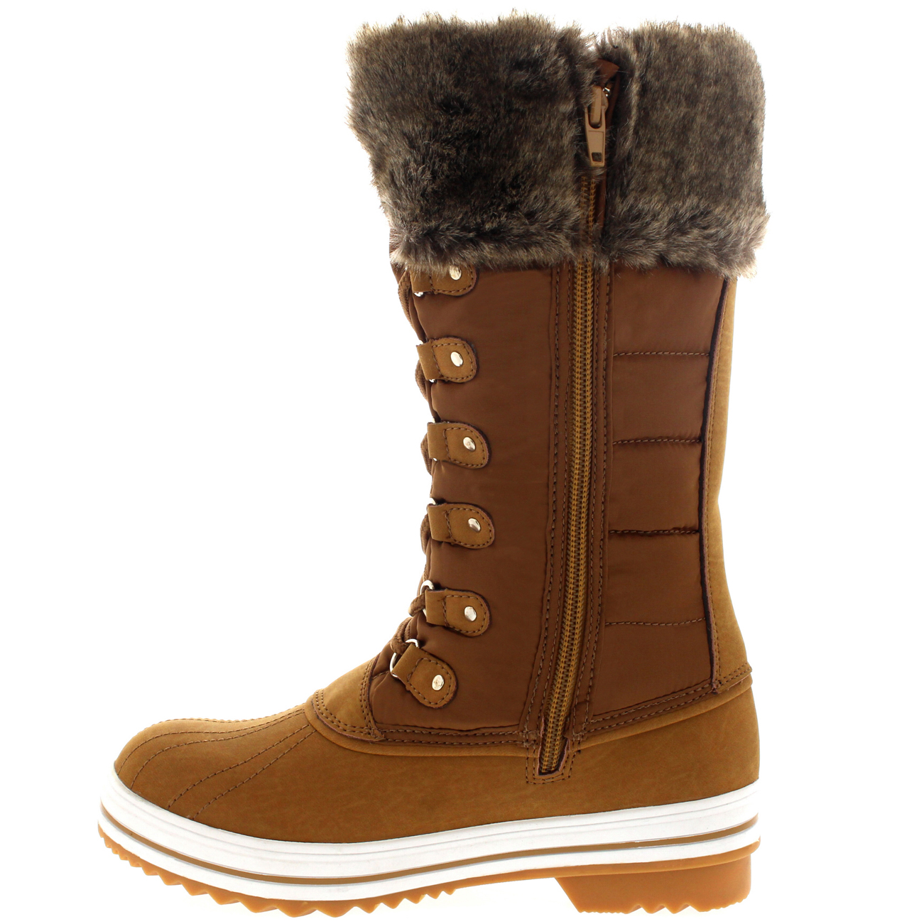 Womens Nylon Warm Side Zip Fur Duck Muck Lace Up Rain