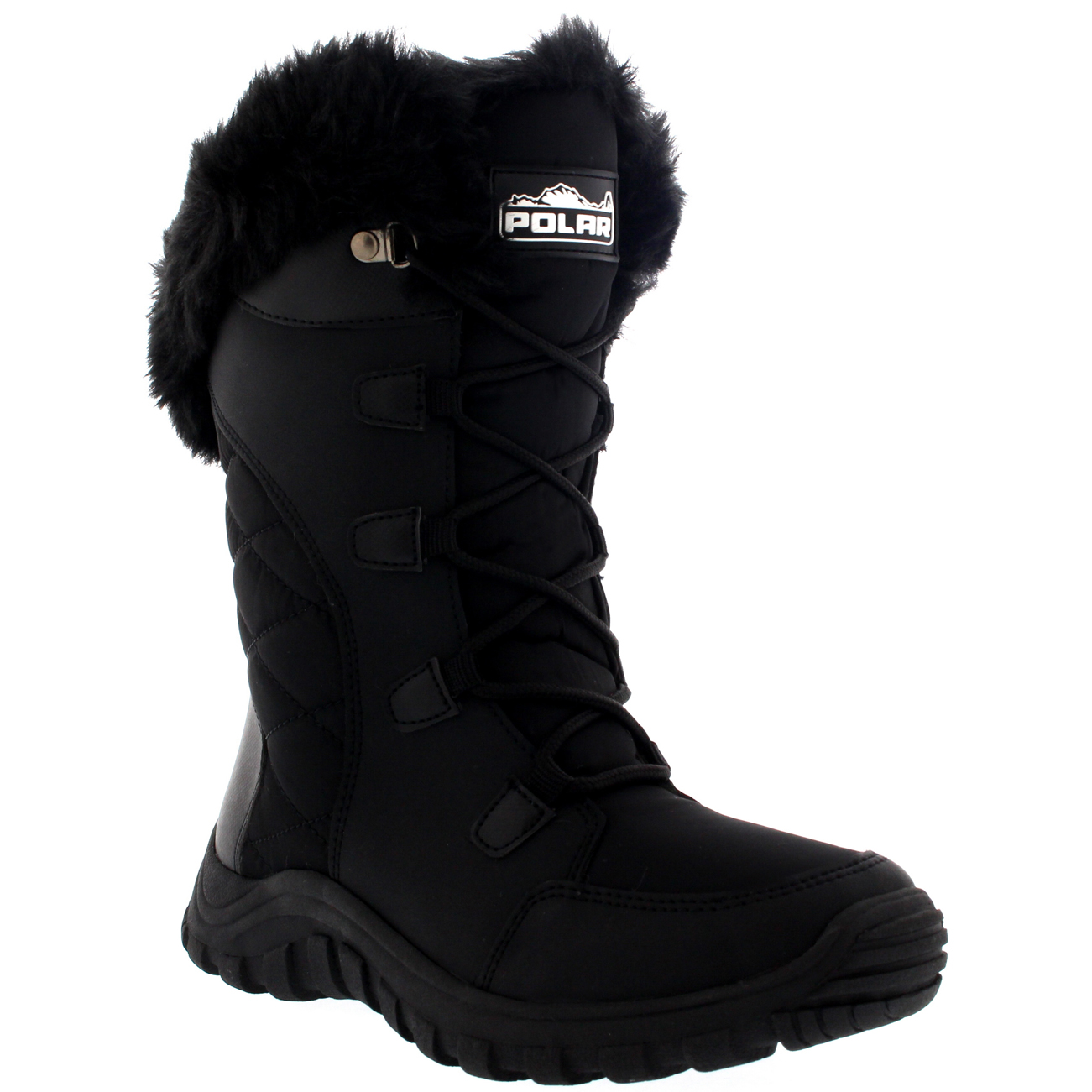 f424a1bb507f Womens Quilted Lace Up Black Outdoor Fur Lined Cuff Snow Rain Duck Boot US  5-12