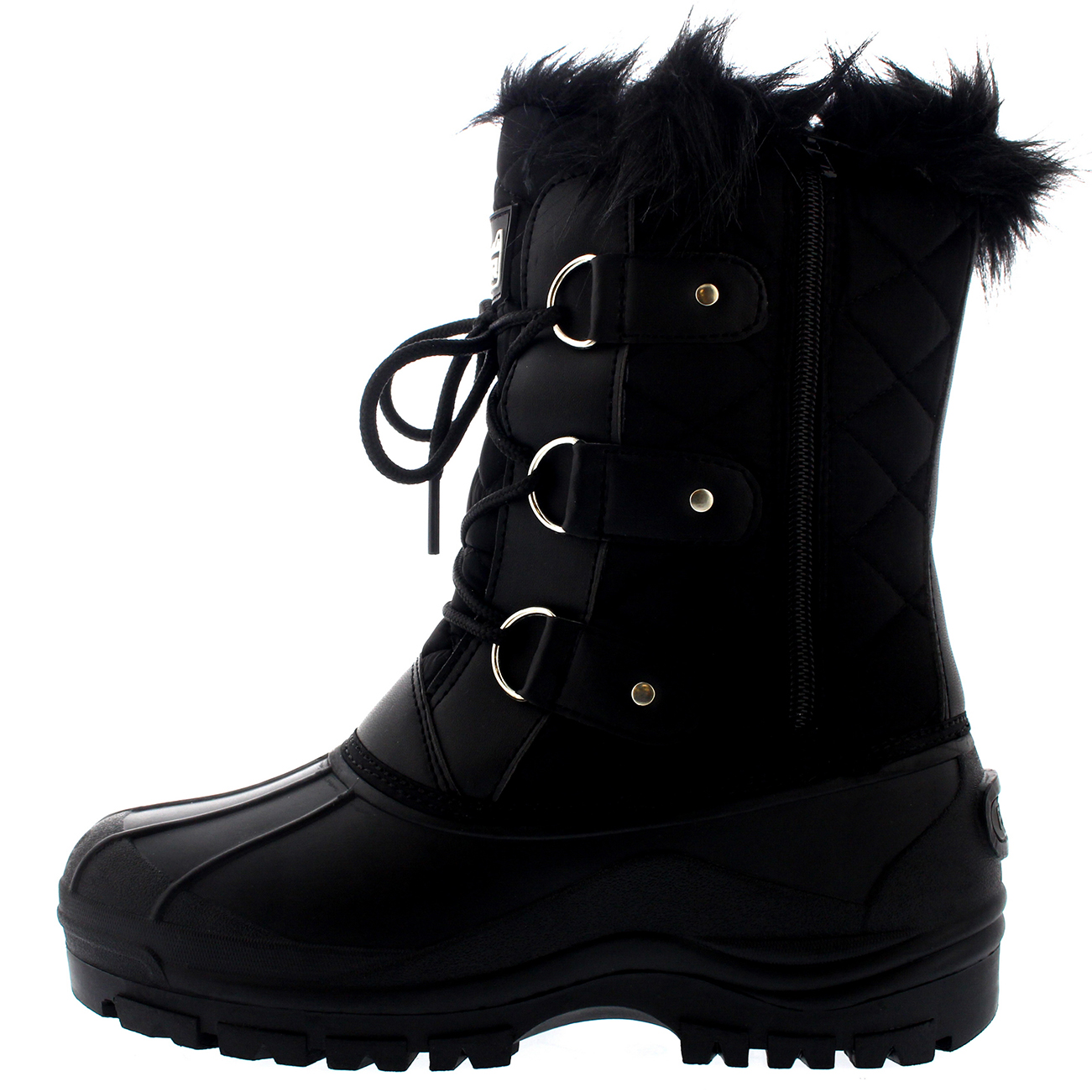 e00a4a9cc6c Details about Womens Mid Calf Mountain Fur Lined Walking Tactical  Waterproof Boots US 5-12