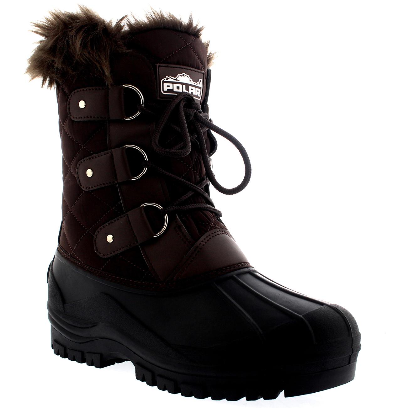 Womens Mid Calf Mountain Fur Lined Walking Tactical Waterproof Boots ... 716bdda29
