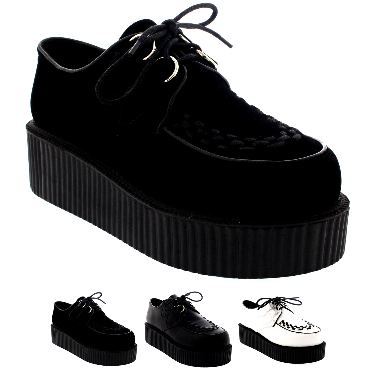 Womens Double Platform Punk Goth Flatform Brothel Creepers Retro Shoes US 5-11