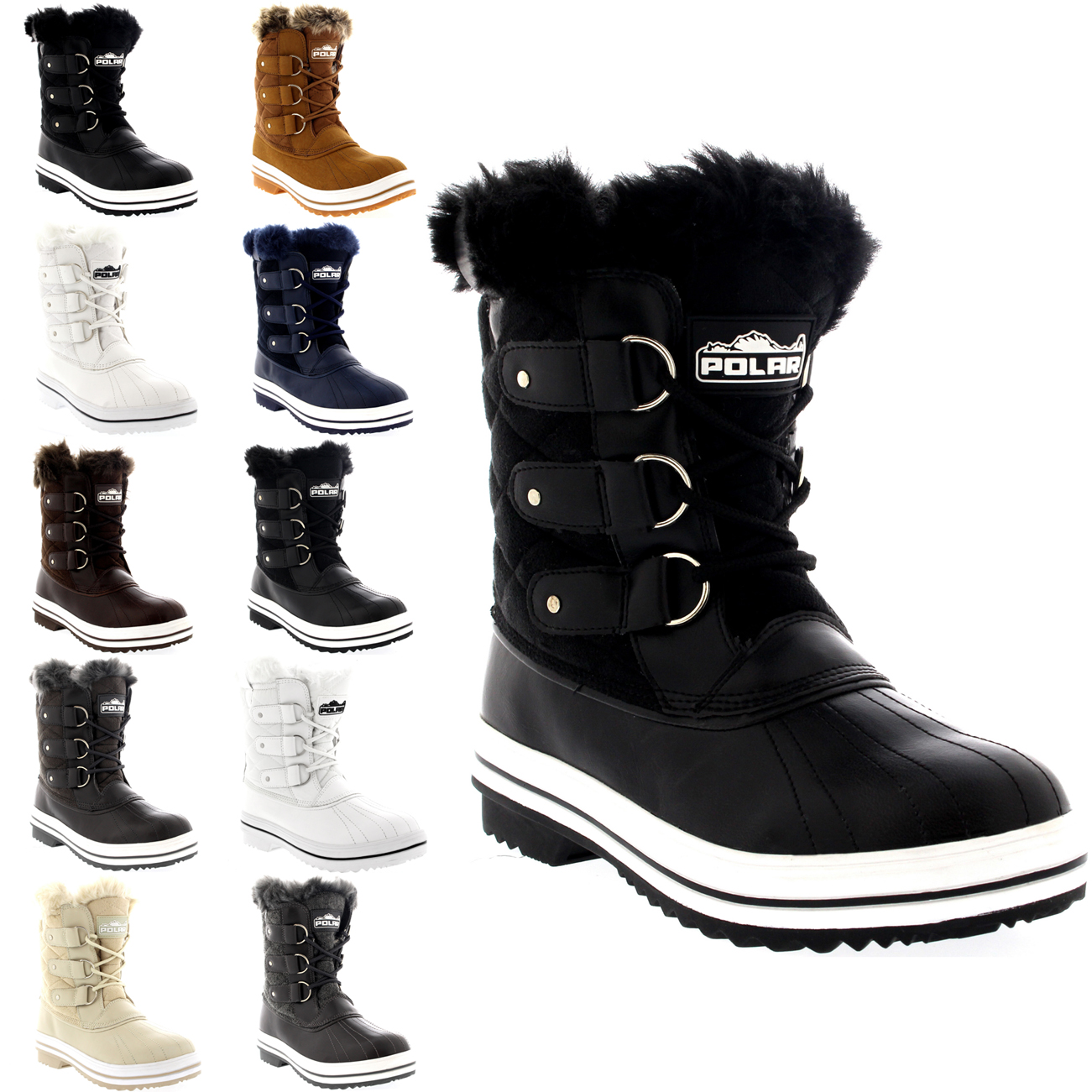 Womens Quilted Short Duck Fur Lined Rain Lace Up Muck Snow W