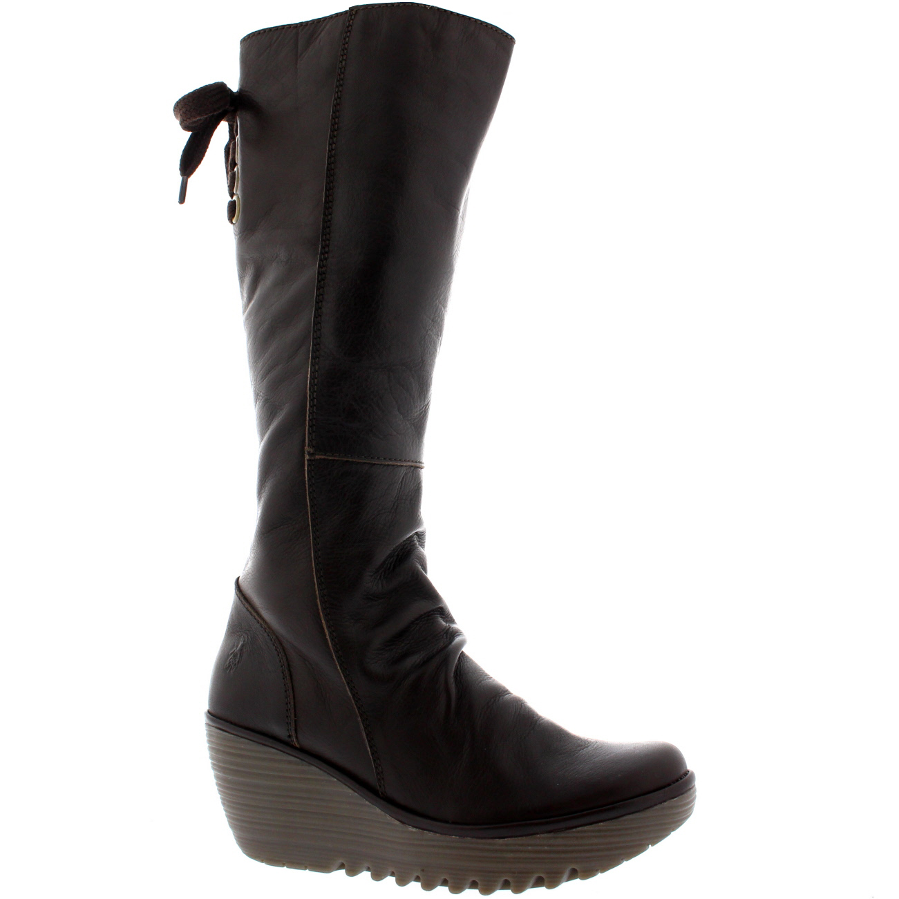 7b6089d19cc9 Womens Fly London Yust Knee High Wedge Heel Leather Snow Winter Boots US  5-11