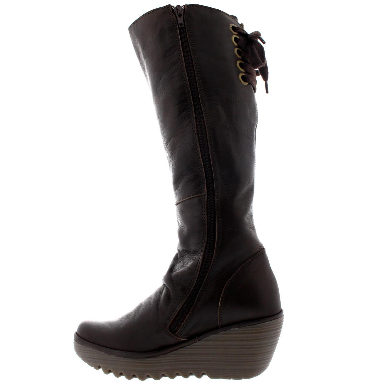 Womens Fly London Yust Knee High Wedge Heel Leather Snow