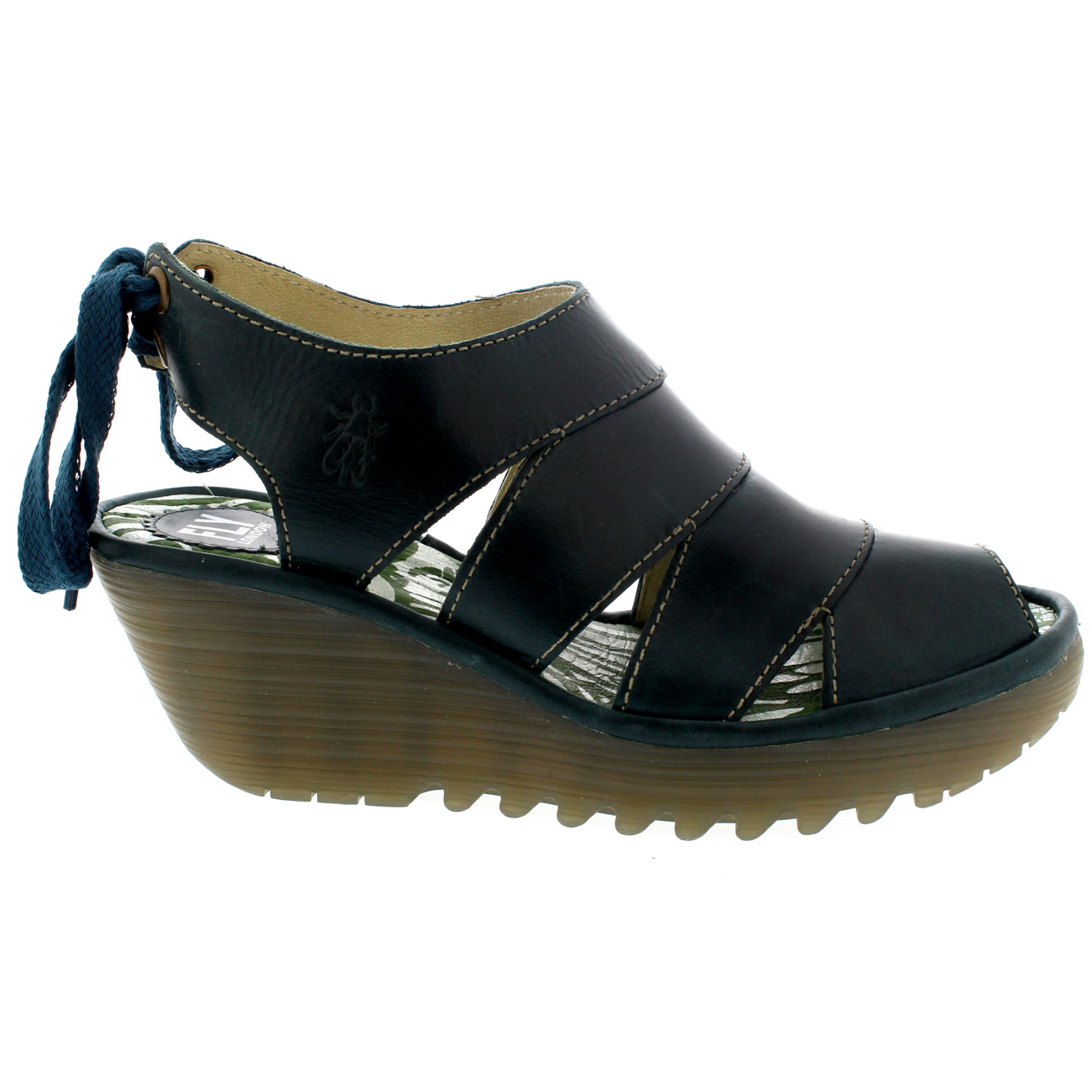 ed92e9e443 ... leather lining, rubber sole unit, contrasting stitching, mid wedge heel,  low platform sole, cleated sole unit, peep toe front, cut out inserts, ...