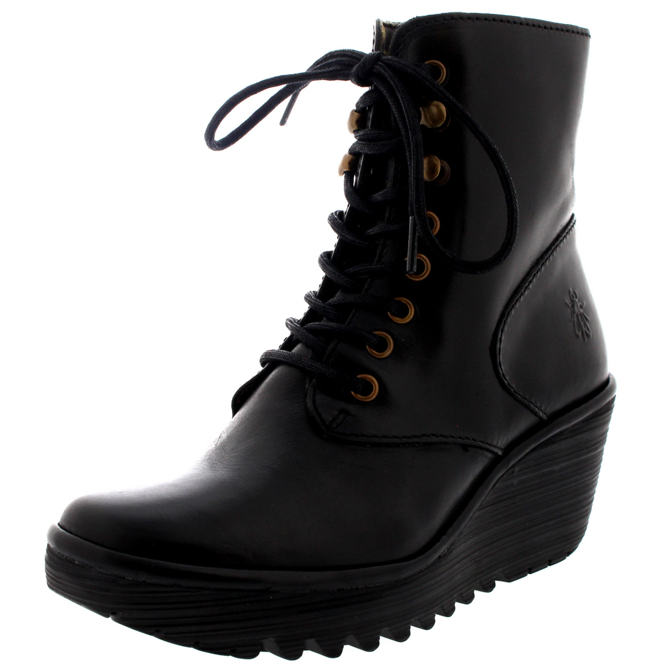 e9fe208c6060 Womens Fly London Ygot Rug Black Leather Winter Wedge Heel Ankle Boots US  5-12