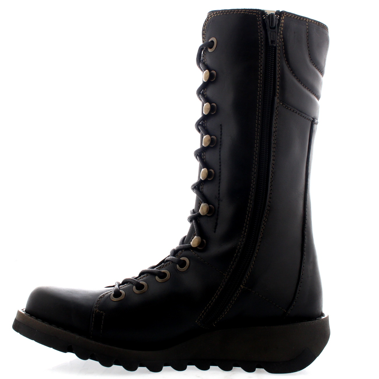 Womens Fly London Ster Lace Up Fashion Casual Leather Mid Calf Boots