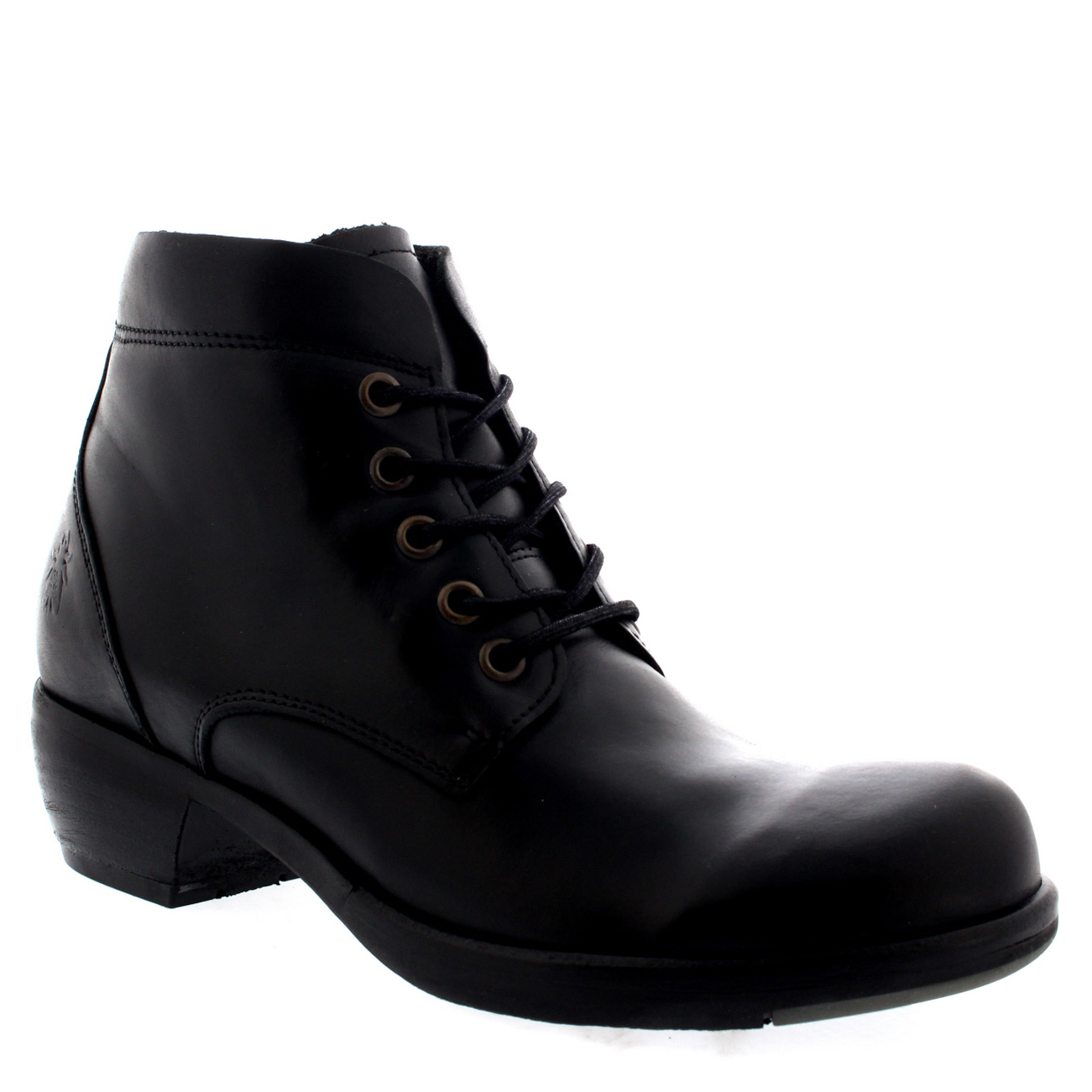 Womens Fly London Mesu Lace Up Cuban Heel Fashion Leather Ankle Boots