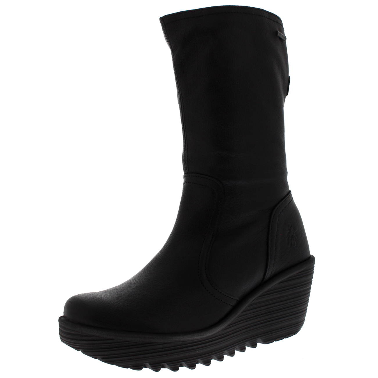 9a2676bdeb0 Details about Womens Fly London Yups Warm Black Wedge Heel Winter Mid Calf  Leather Boot 5-11