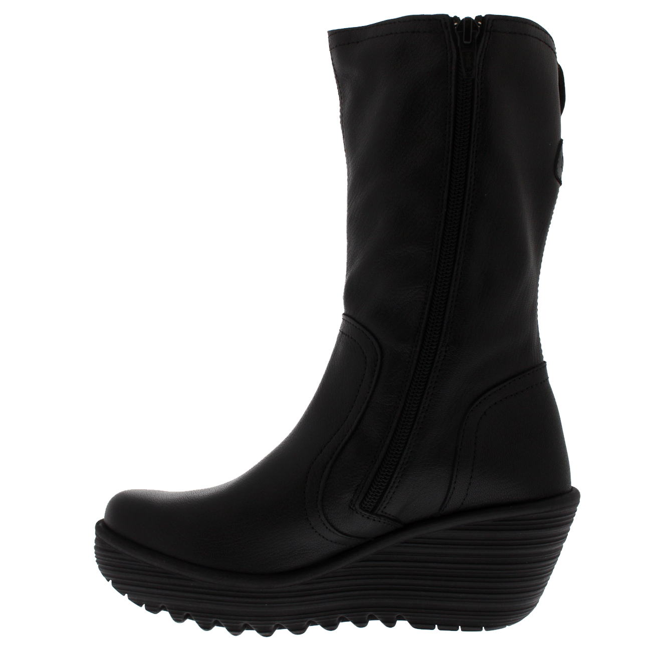 de044164c74c Details about Womens Fly London Yups Warm Black Wedge Heel Winter Mid Calf  Leather Boot 5-11
