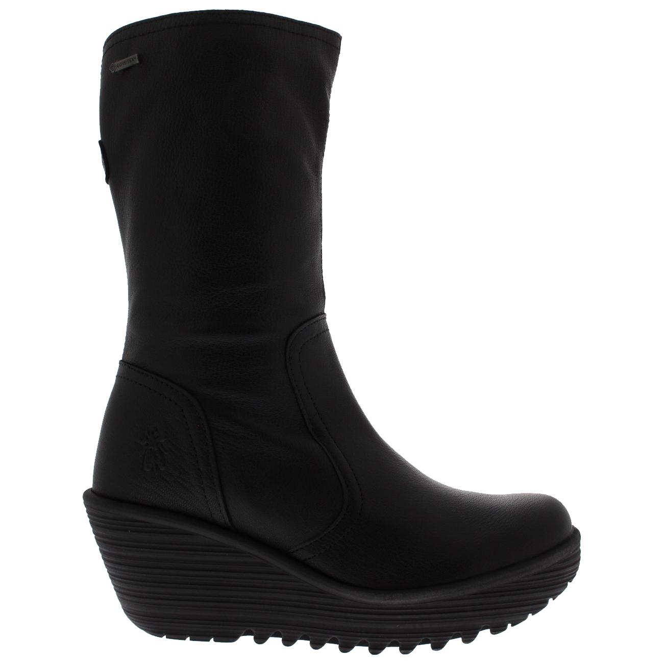 4304cc3edc4 Womens Fly London Yups Warm Black Wedge Heel Winter Mid Calf Leather Boot 5- 11
