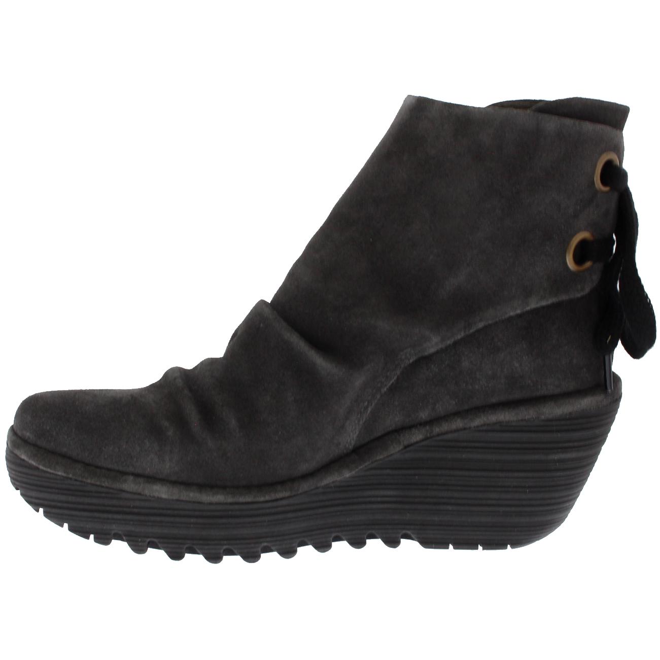 Womens Fly London Yama Platform Wedge Heel Ankle Boot Oil Suede Mid Heel