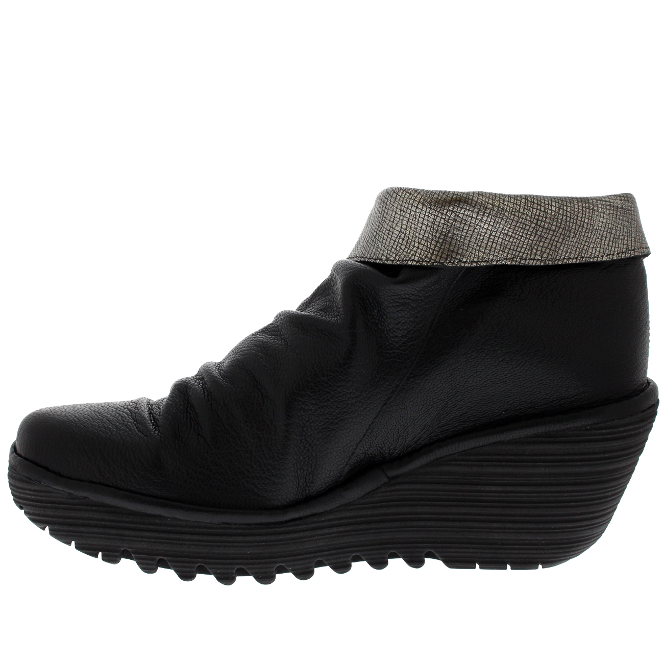 37f19056631 Womens Fly London Yoxi Casual Mousse Leather Black Wedge Heel Ankle Boot US  5-11