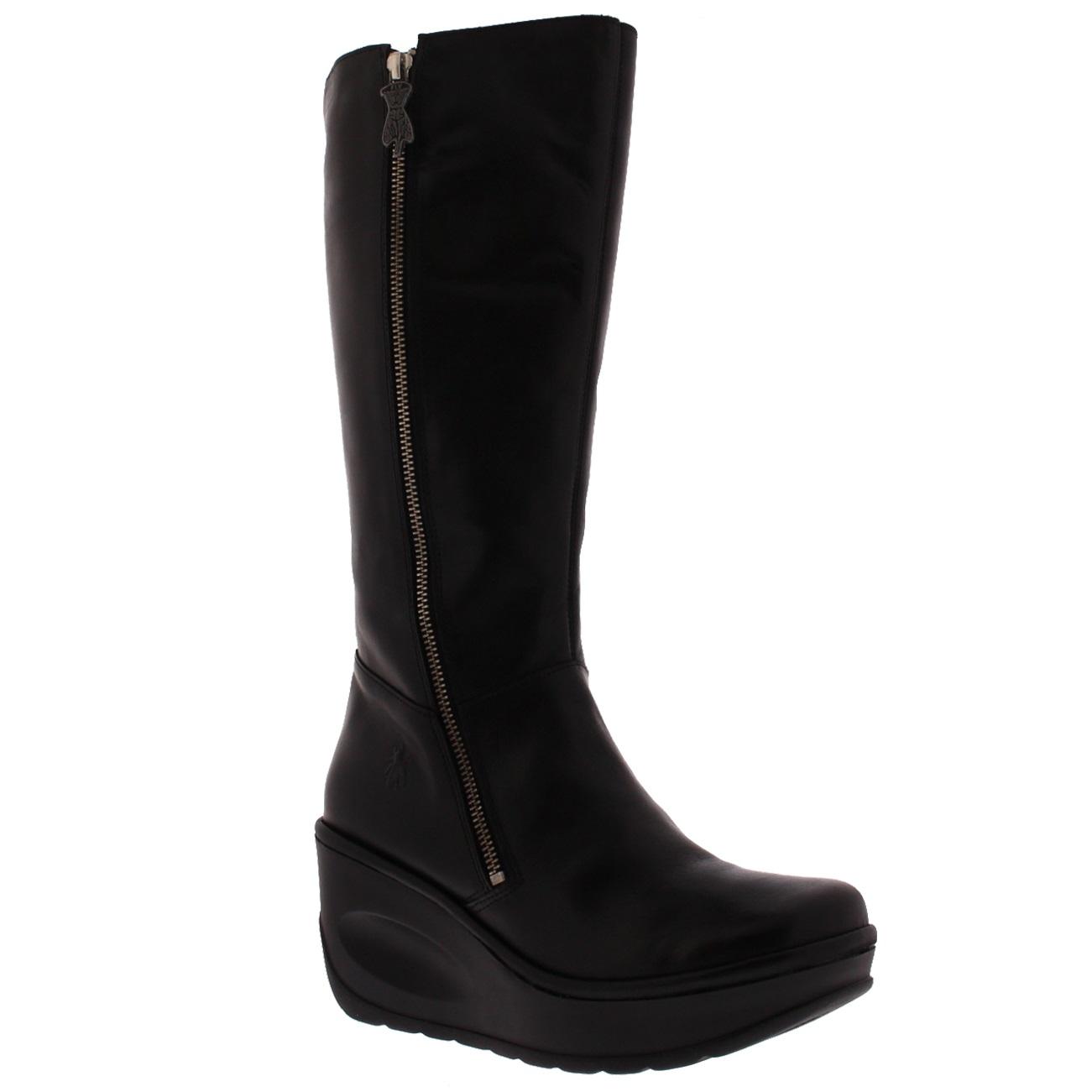 8858bfa5d83 Womens Fly London Jate Fashion Leather Wedge Heel Knee High Winter ...