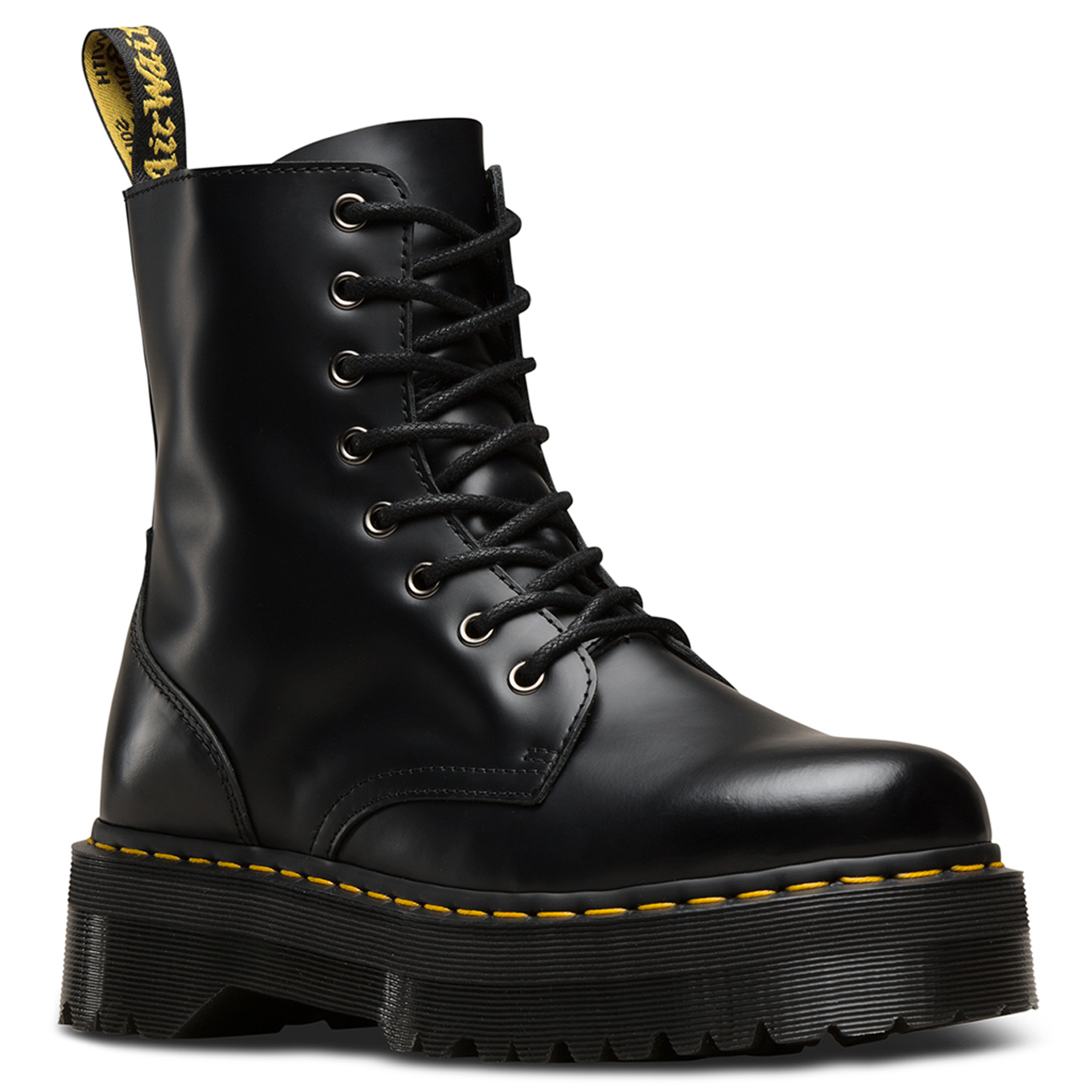 66dcfe5805b Unisex Adults Dr Martens Jadon Black Chunky Smooth Polished Leather Boot US  5-14