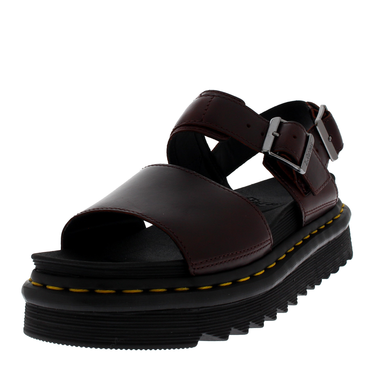 7ace24faada Details about Womens Dr Martens Voss Charro Brando Burgundy Leather Platform  Sandals US 5-11