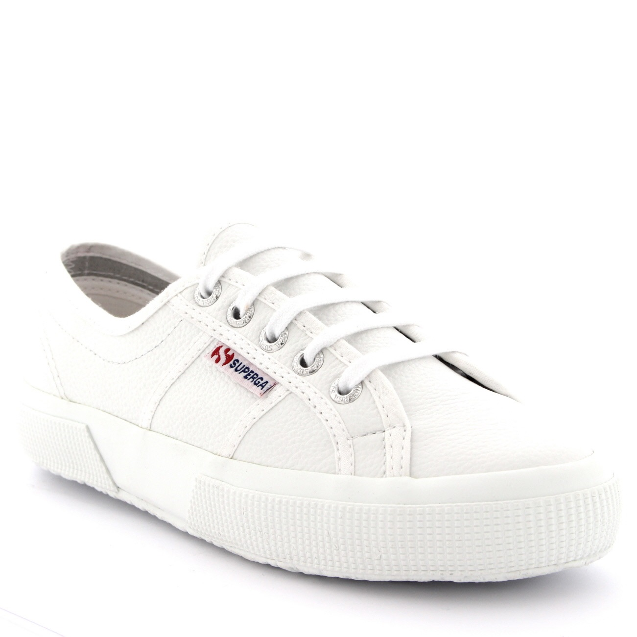 Superga 2750 Efglu White Womens Leather Lowtop Laceup Trainers