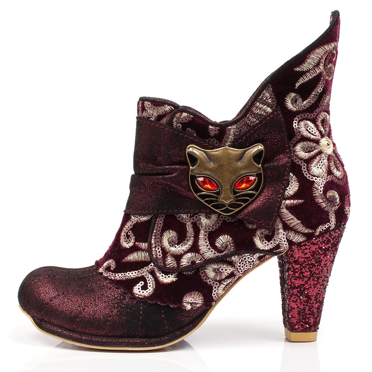 Womens Irregular Choice Miaow Miaow Miaow Cat Evening Party Mid Heels Ankle Boot US 5.5-11 567b71