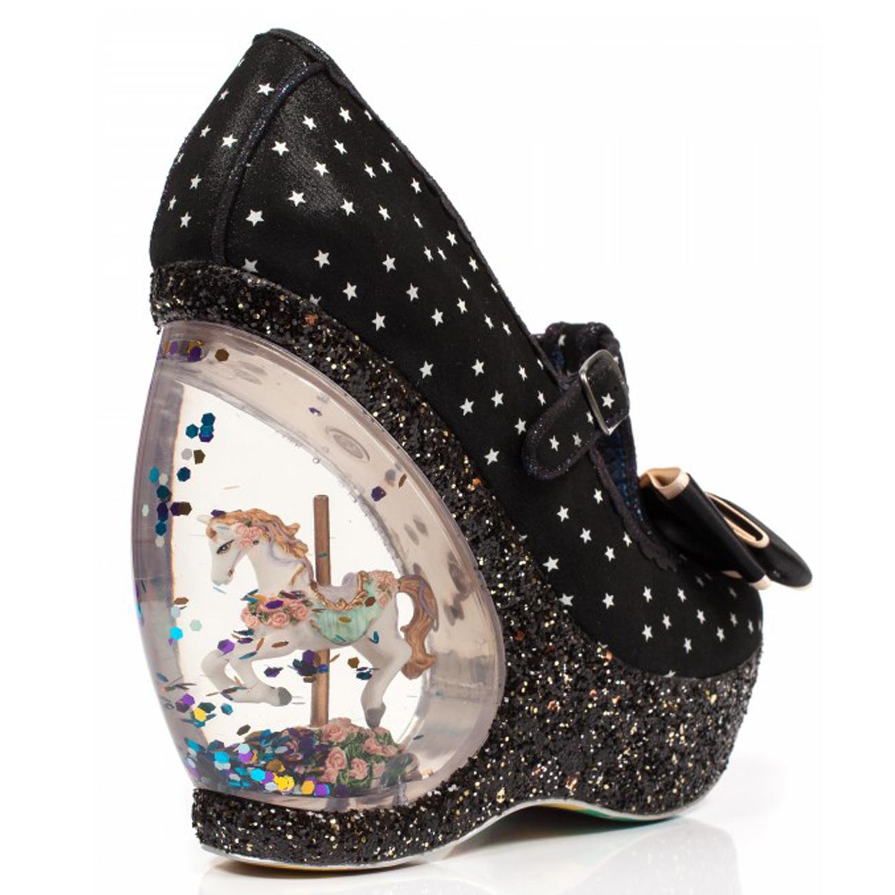 Mujer Irregular Choice Castaño Plataforma Brillo Cuñas Cuñas Cuñas carrusel Zapatos EE. UU. 5.5-11 df3498