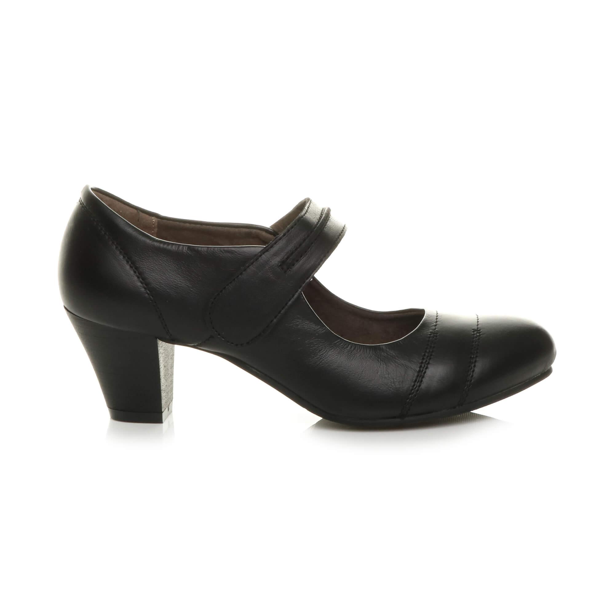 Damen Mittelblockabsatz Komfort Leder Grund Mary Jane Pumps Schuhe Größe 5 38 XHVkb