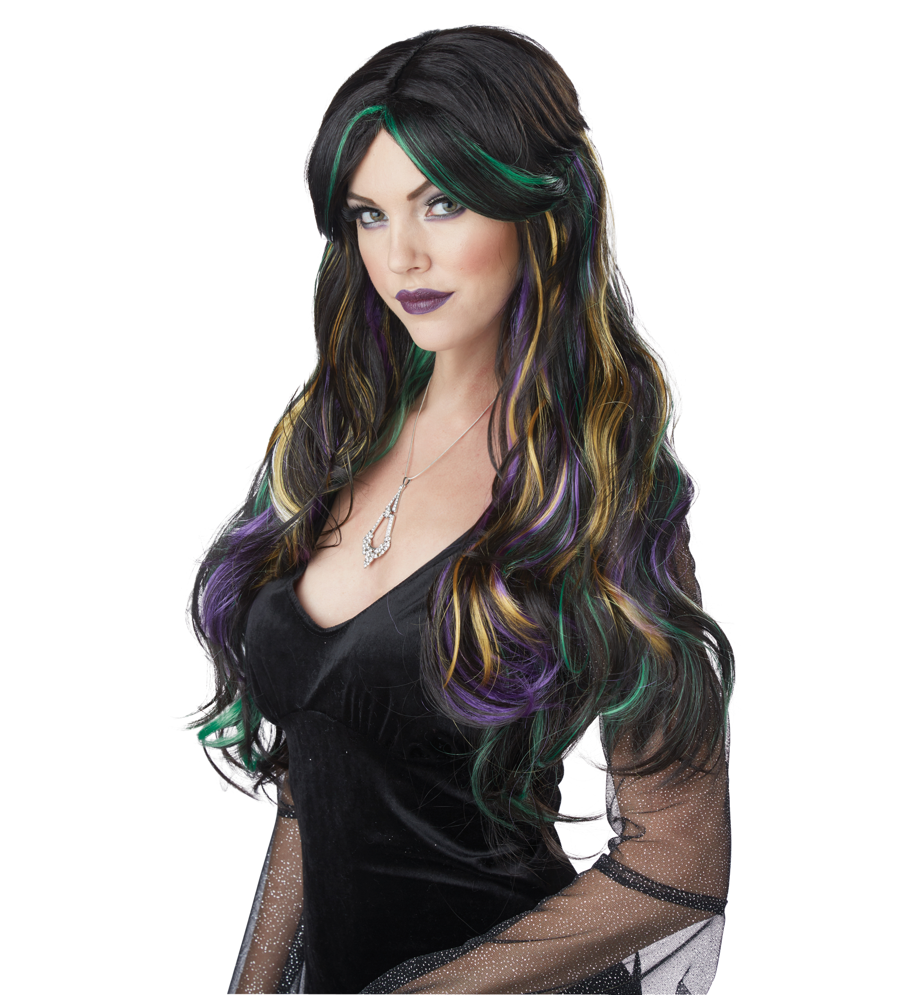 Bewitching Wicked Witch Long Wavy Black Green Yellow Purple Womens Costume  Wig ef13d2a74