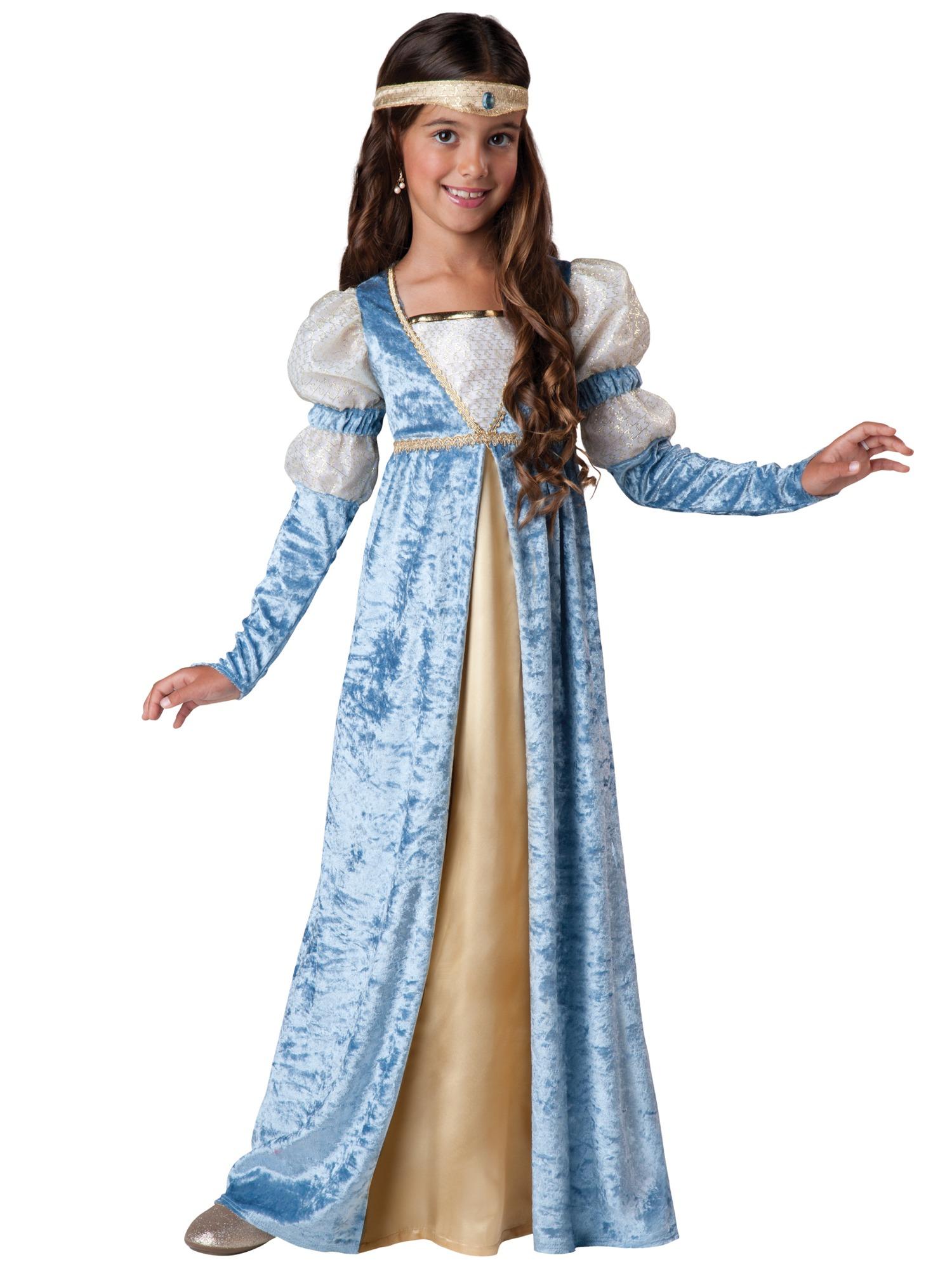 Renaissance Maiden Medieval Princess Blue Gown Child Girls Costume ...
