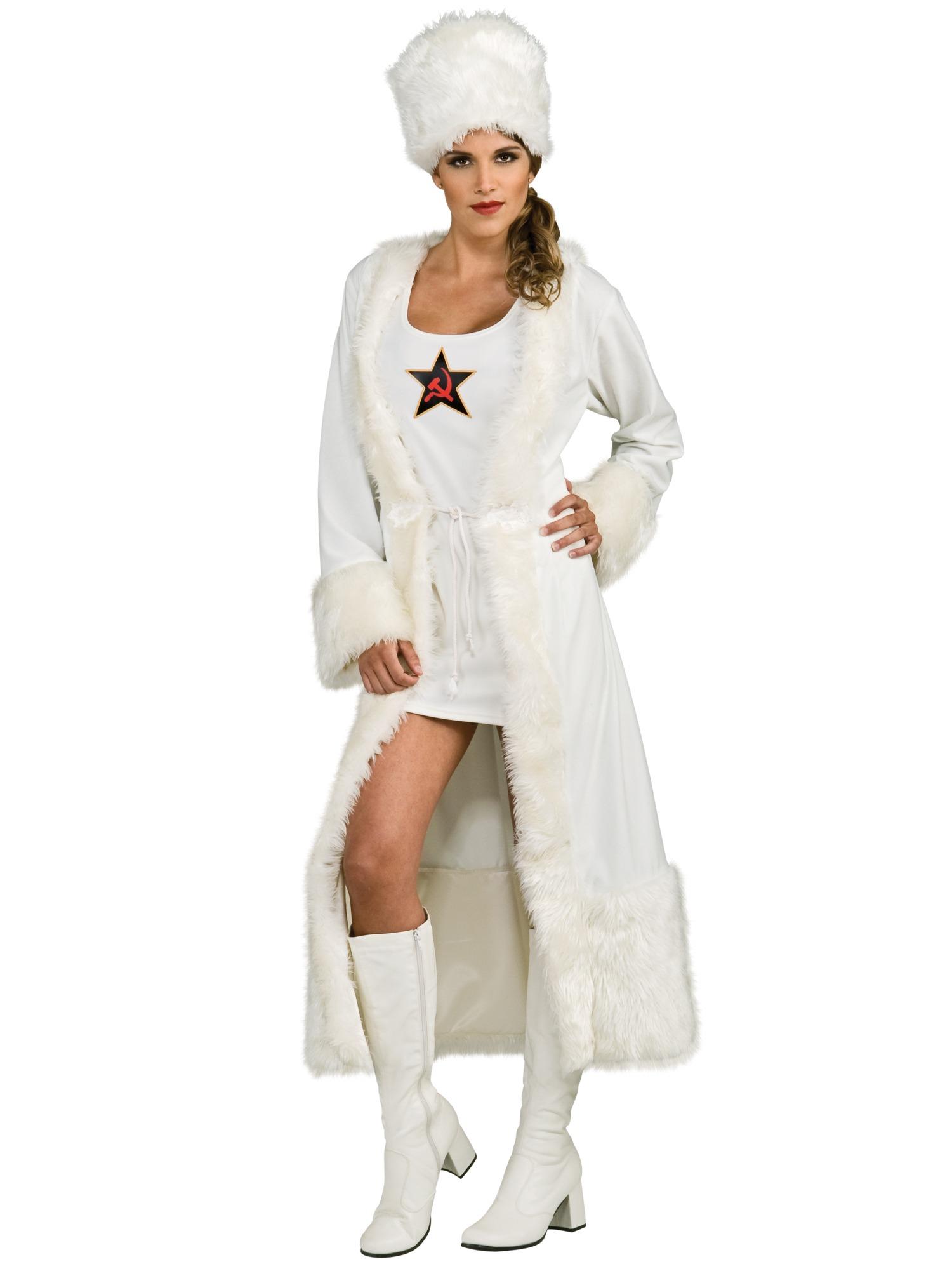 Russian White Soviet Spy James Bond Female Women Costume S
