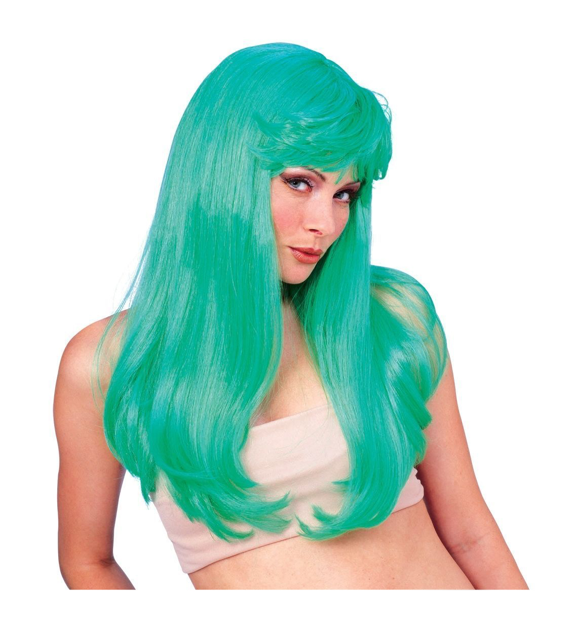 Green Glamour 1980s Disco St Patrick's Day Witch Women Costume Wig ...