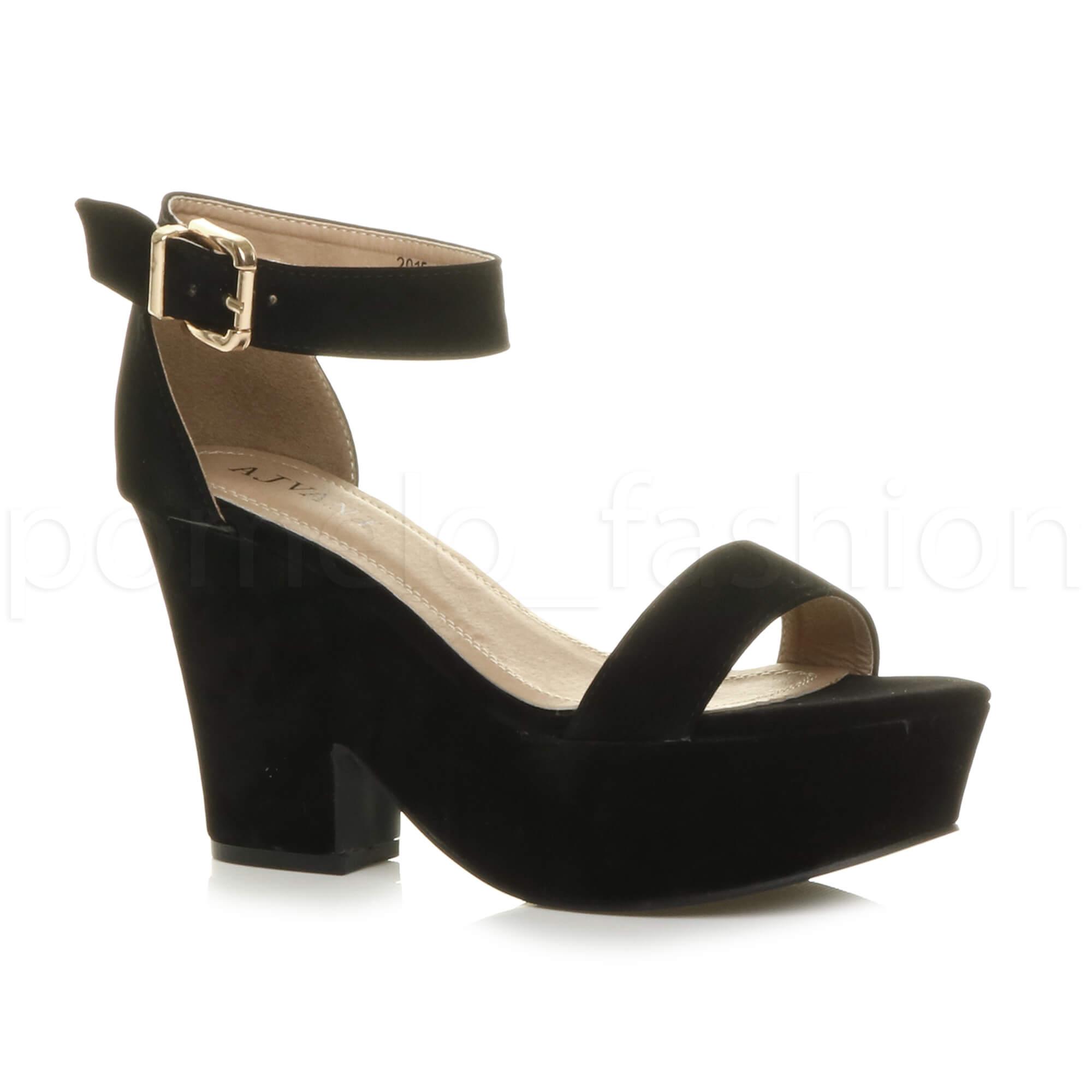 Womens Ladies Platform High Block Heel Semi Wedge PEEP Toe Shoes ... 897e35e09104
