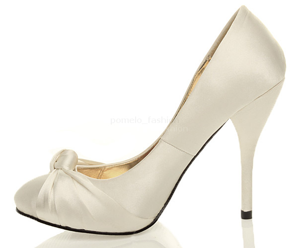 WOMENS LADIES HIGH HEEL WEDDING BRIDAL EVENING PROM PLATFORM COURT SHOES SIZE