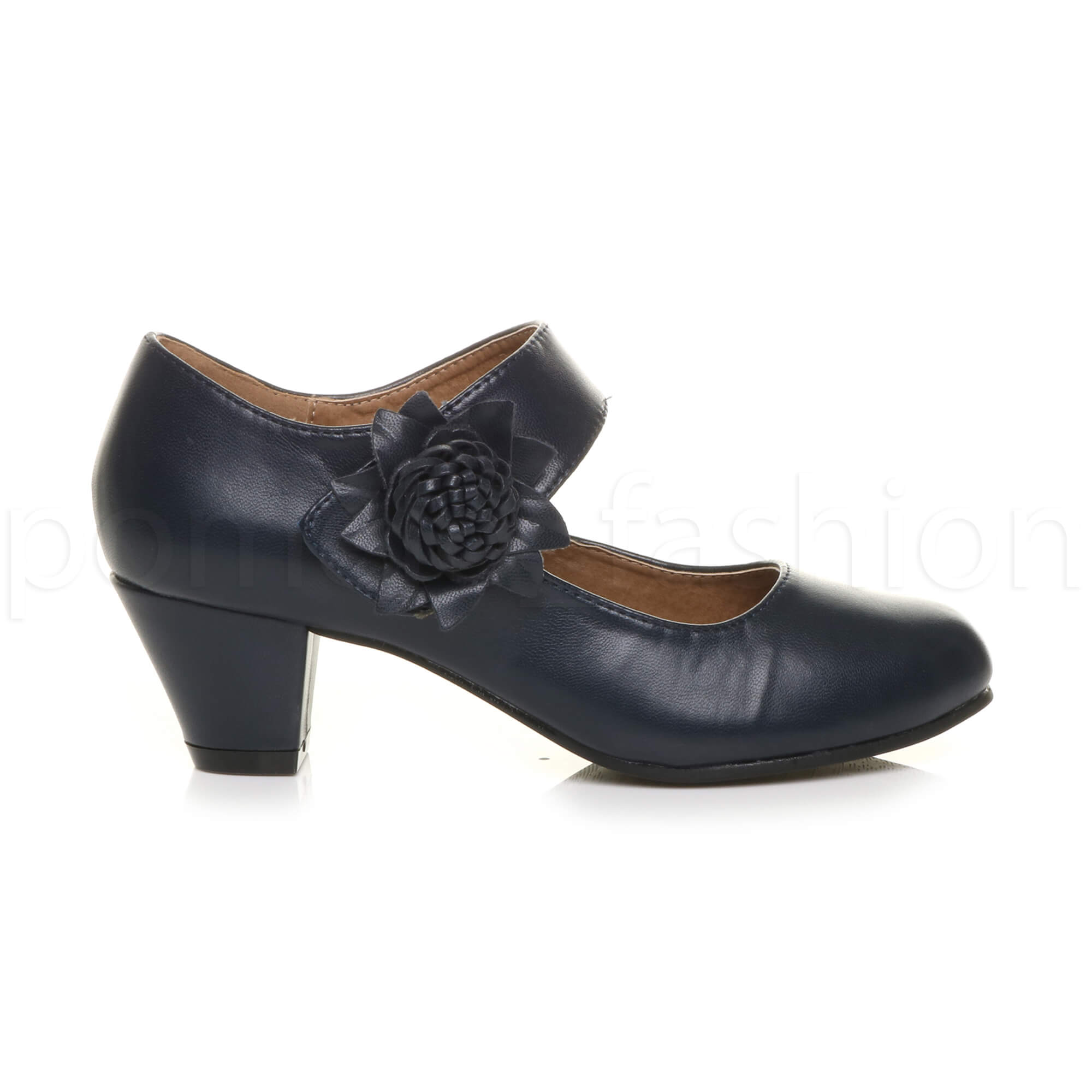 367627a9151 Womens Ladies Comfort Mid Block Heel Mary Jane Padded Leather Lined ...