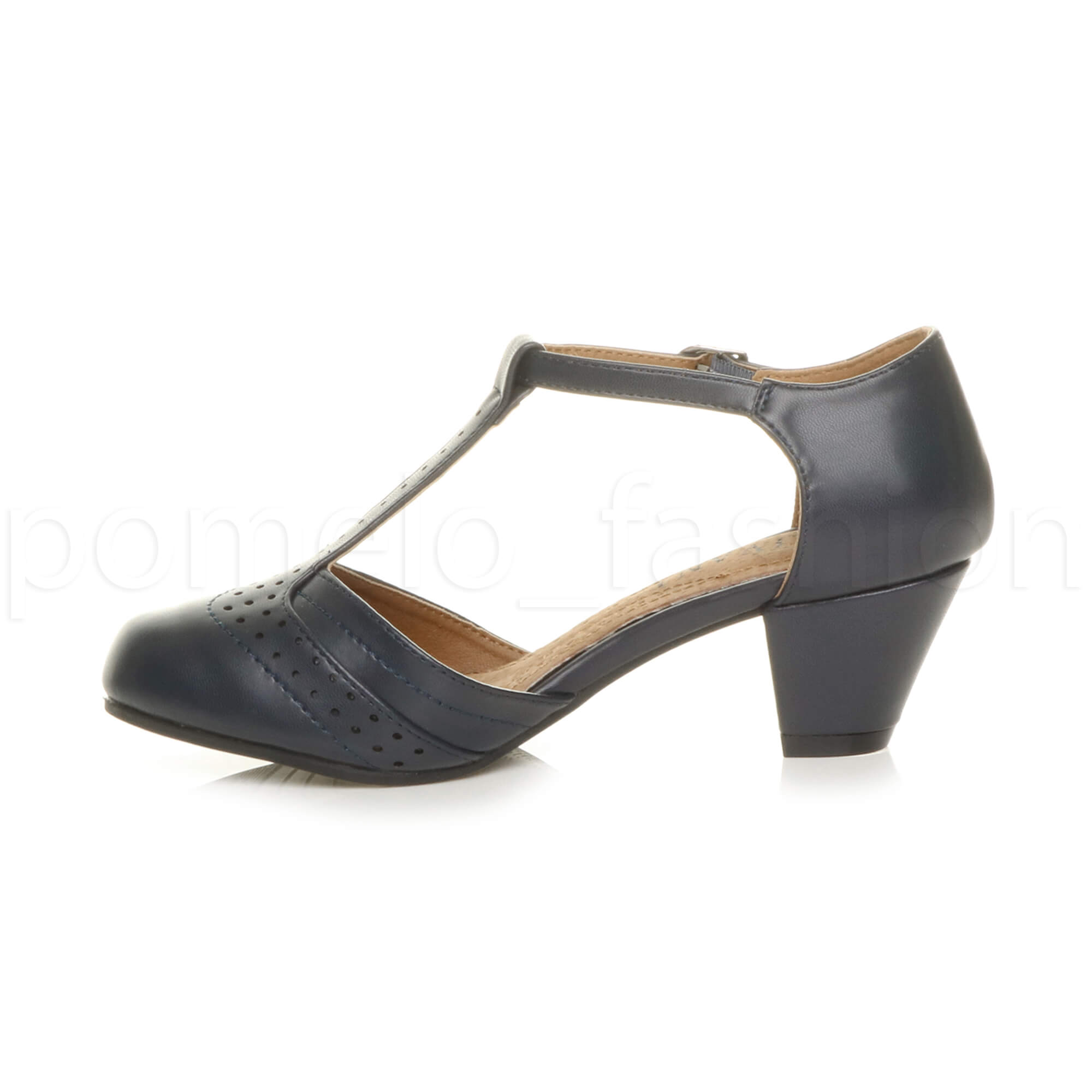 Brogues Womens Navy Shoes Mid Heel