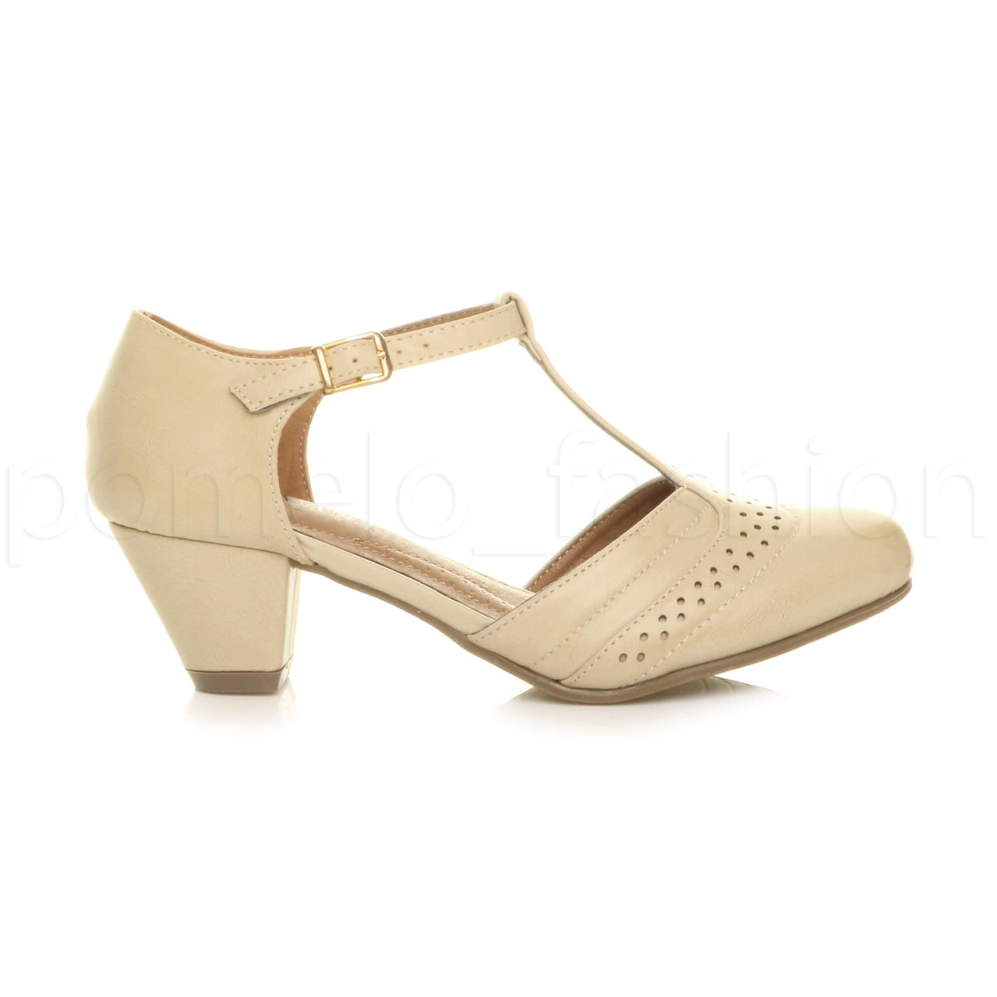 Brogues Womens Navy Shoes Mid Heel