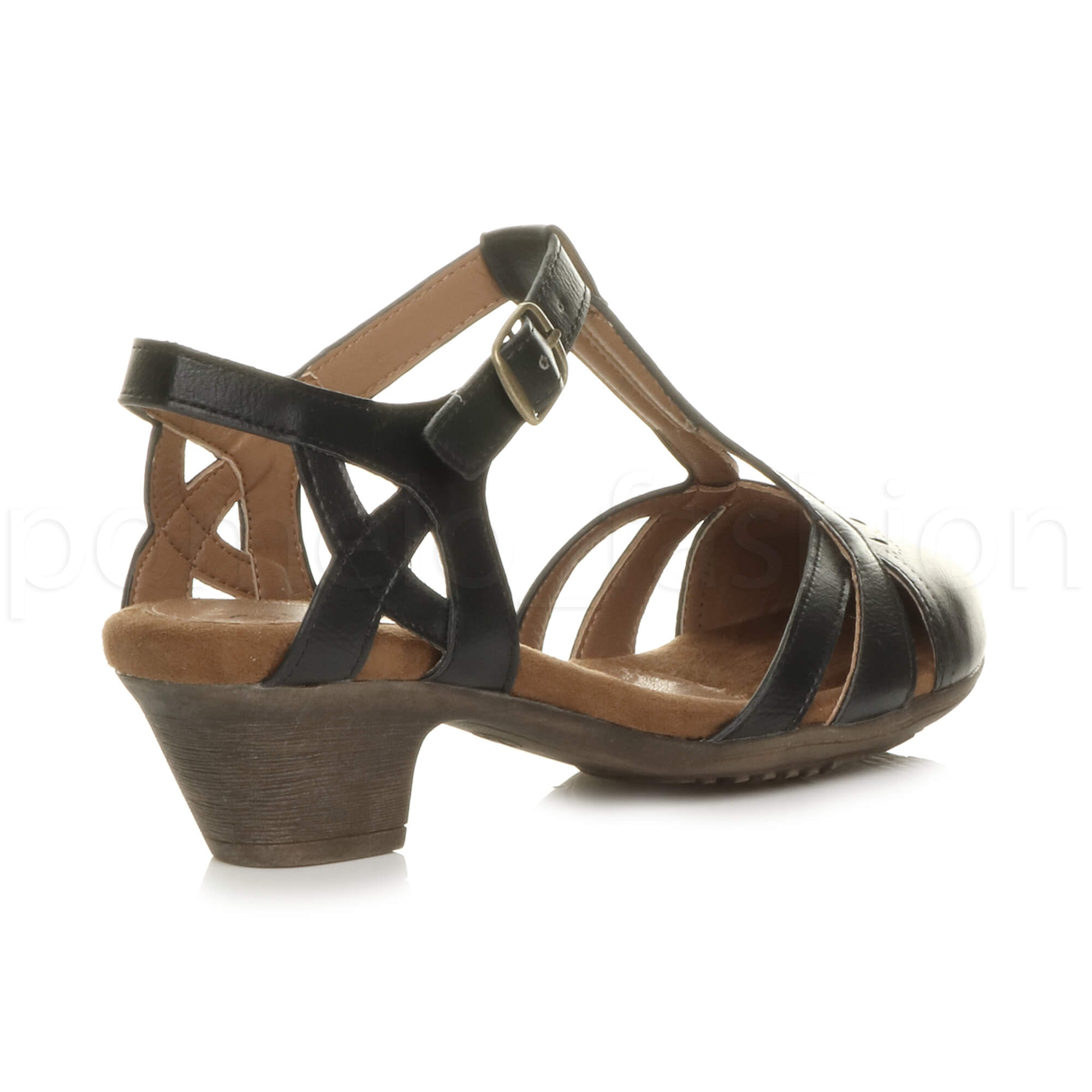 6baa56437f1ab Details about WOMENS LADIES LOW MID HEEL PADDED T-BAR VINTAGE STYLE 50s 60s  SHOES SANDALS SIZE